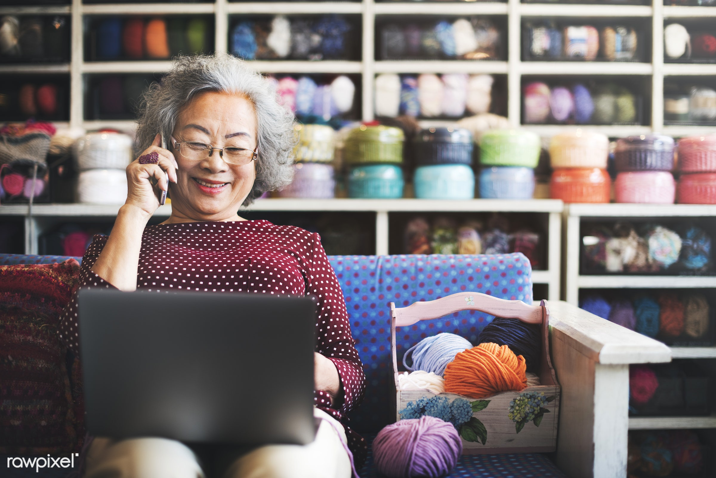 activity, asian, asian ethnicity, browsing, calling, chat, cheerful, elderly, fun, grandma, happiness, hobby, home, indoors...