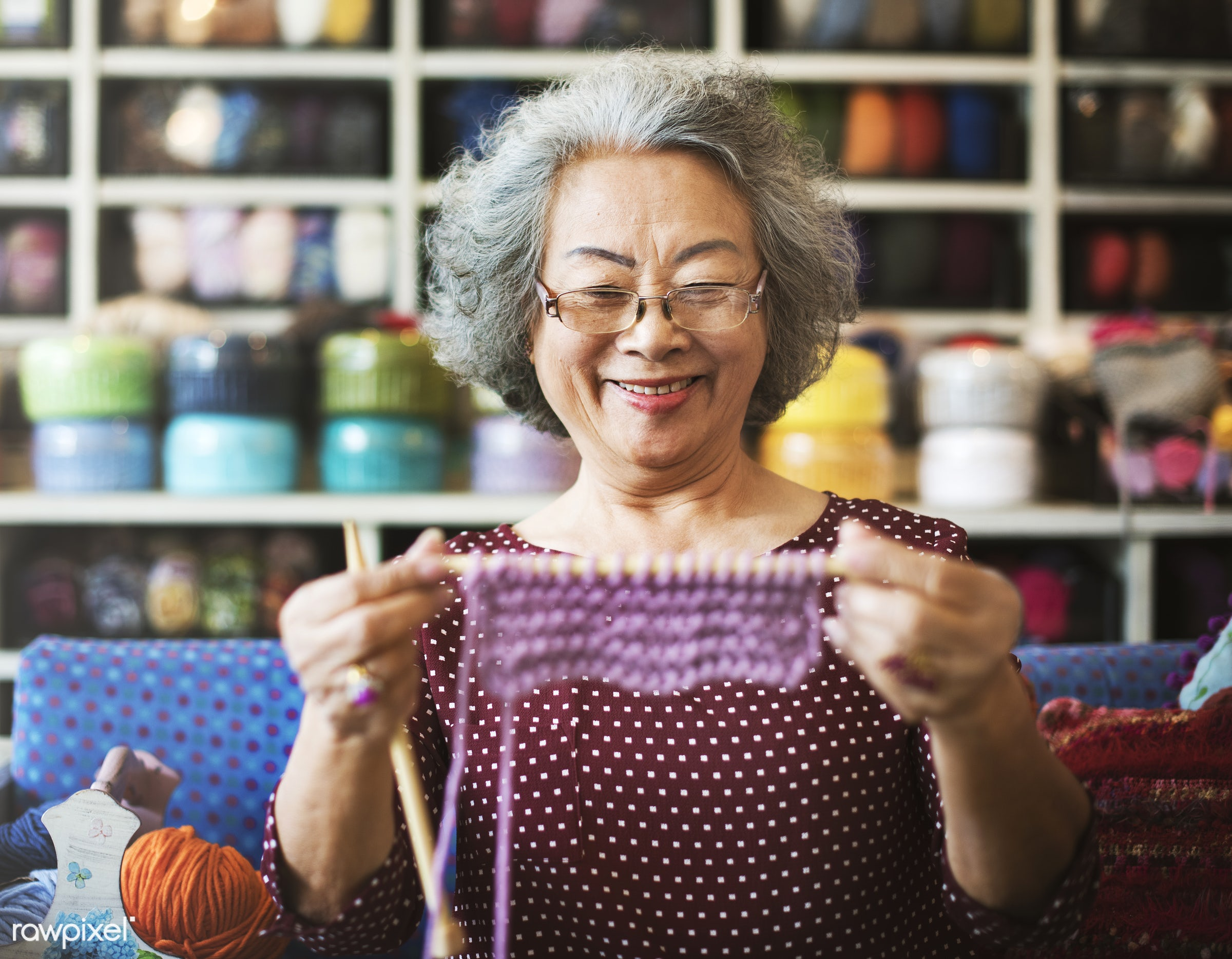 activity, art, artistic, asian, asian ethnicity, cheerful, clothing, creative, creativity, crochet, crocheting, elderly, fun...