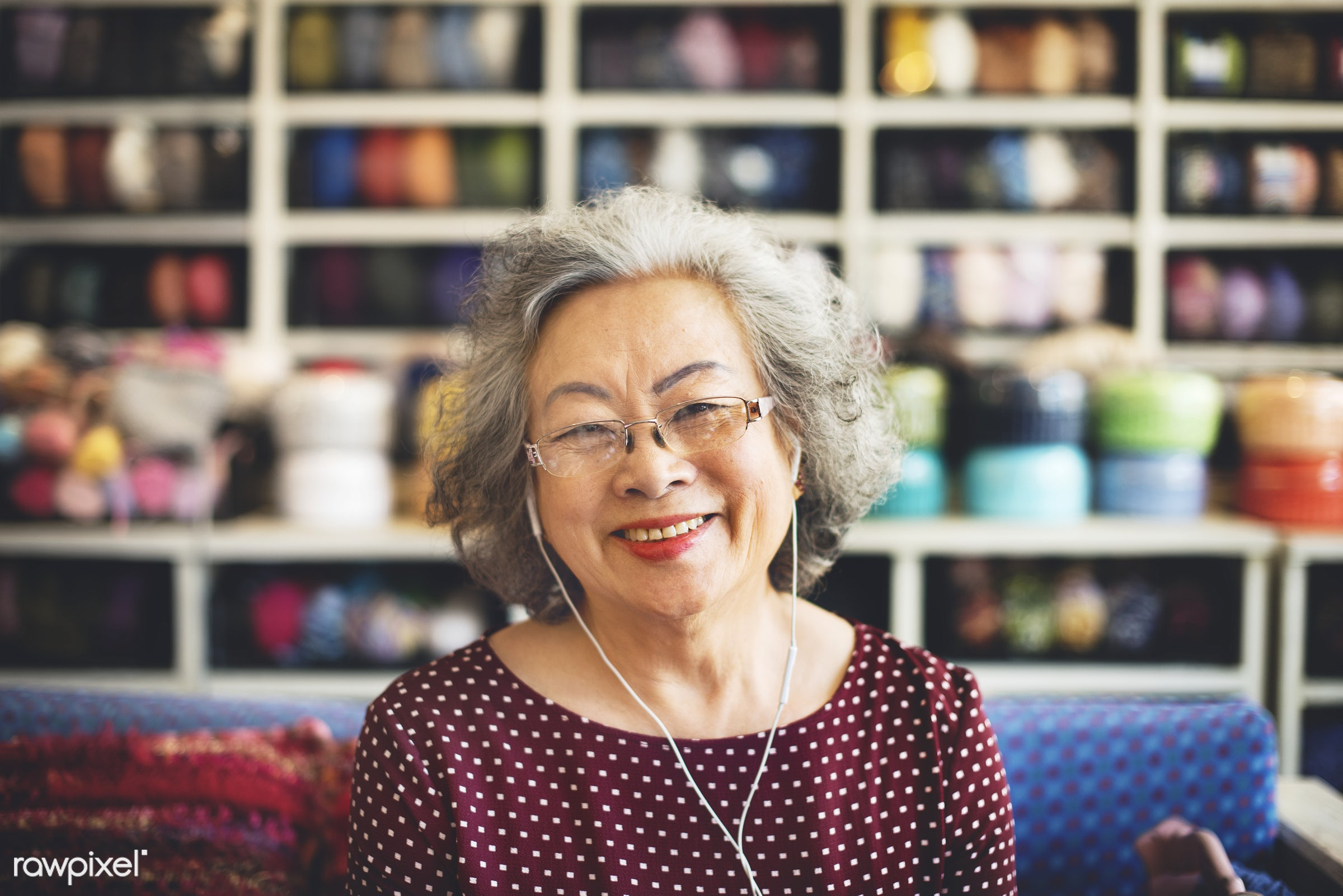 Life style of a senior Asian woman - elderly, senior, healthy, elder, activity, adult, asian, cafe, casual, cheerful, close...