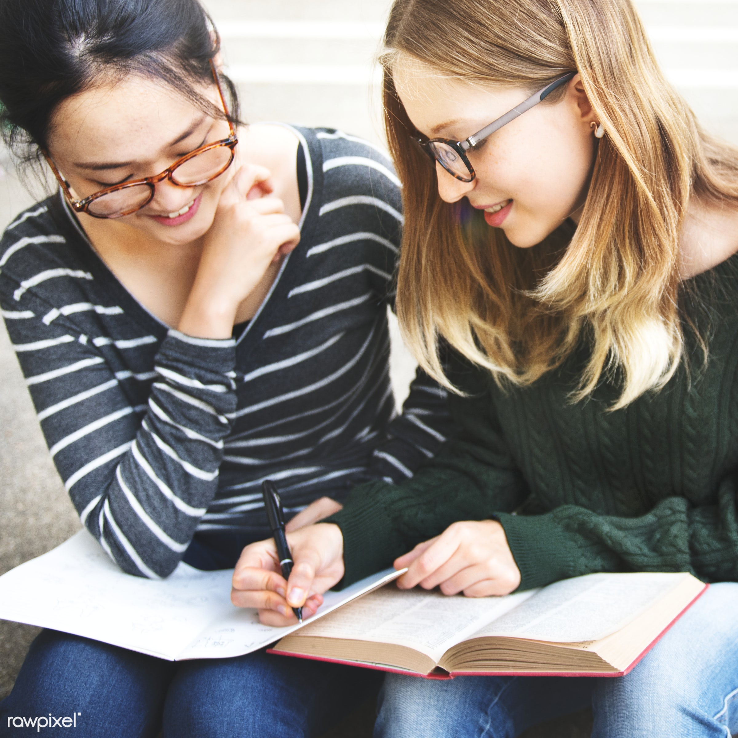 Young women are studying - book, brainstorm, campus, college, discussion, education, friends, friendship, girls, homework,...