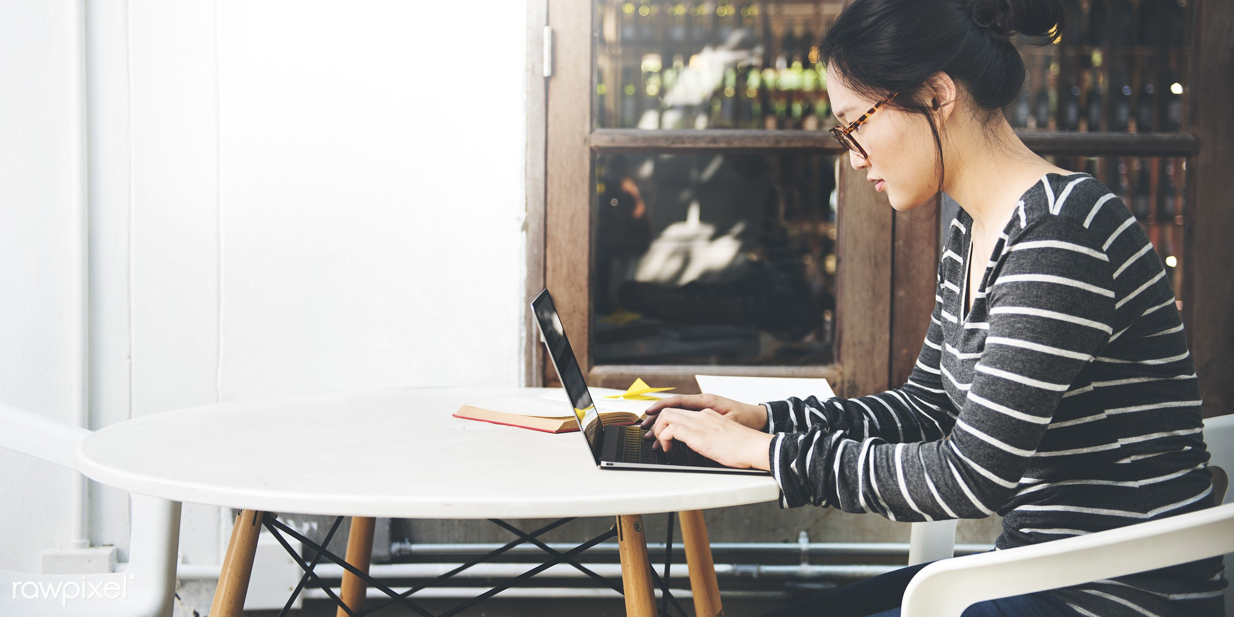 adult, alone, asian, browsing, cafe, casual, college, communication, connection, digital device, education, ethnicity, girl...