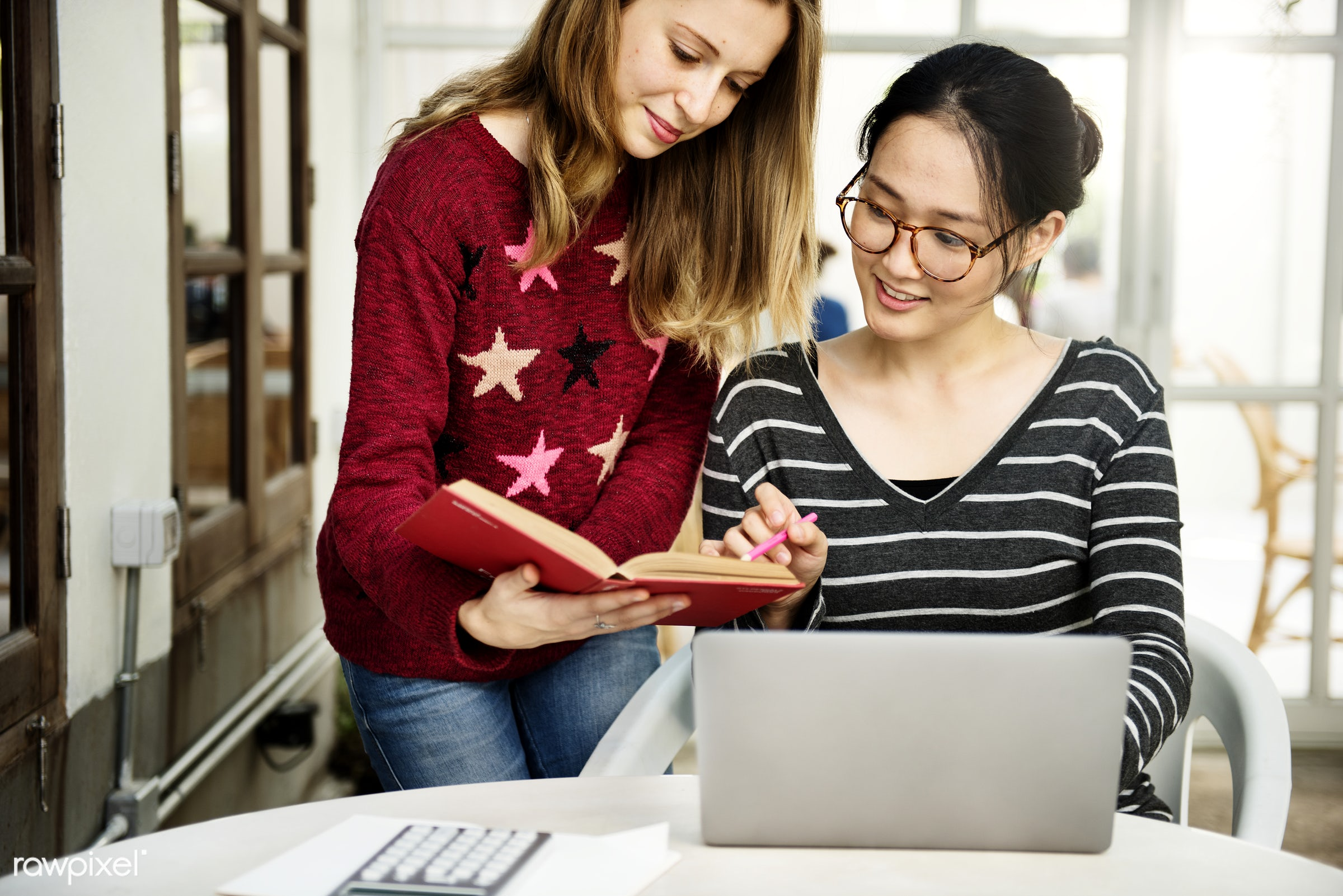 Young women are using computer laptop - browsing, college, communication, computer, connection, device, digital, education,...
