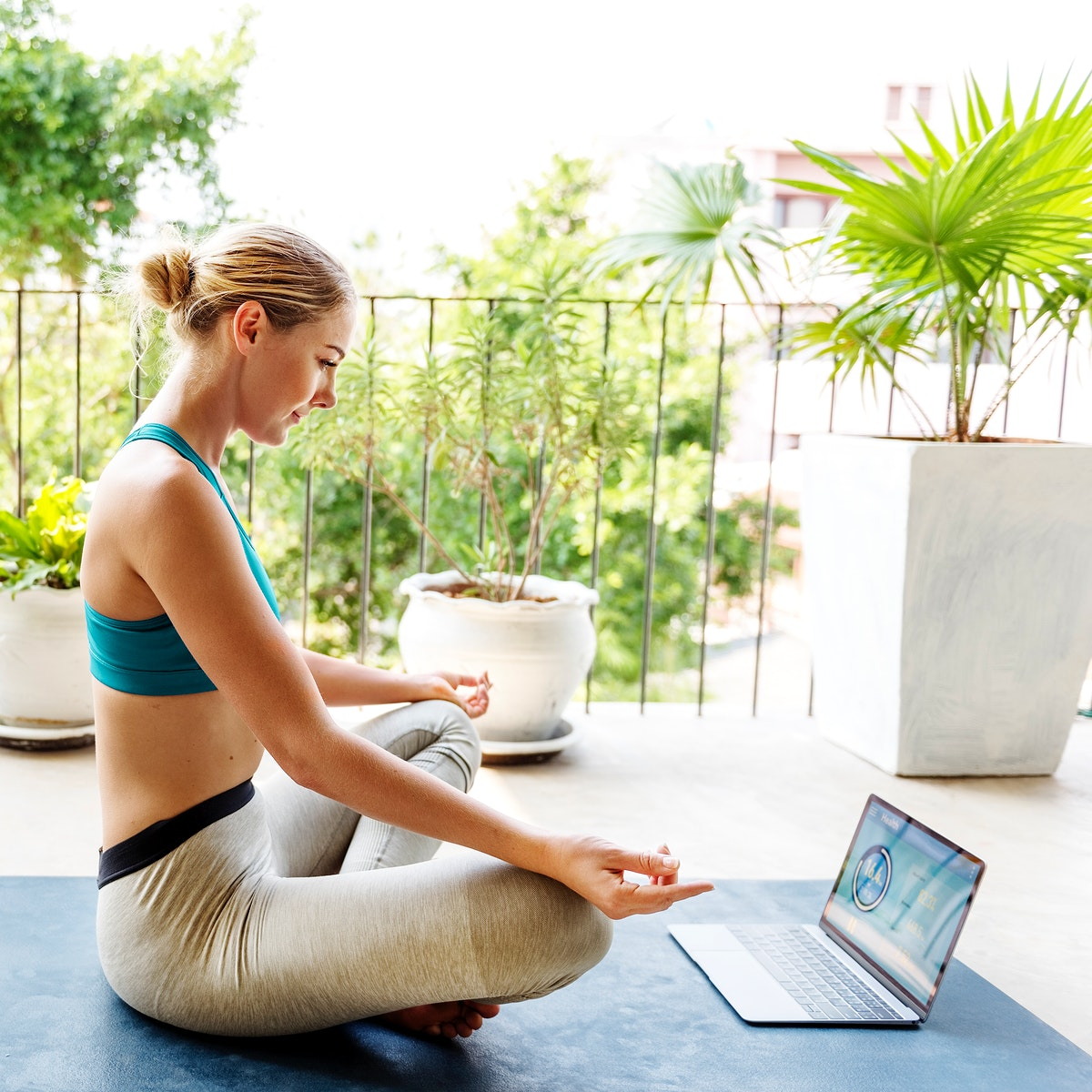 Beautiful Digital Device Fitness Calm Concentration Concept