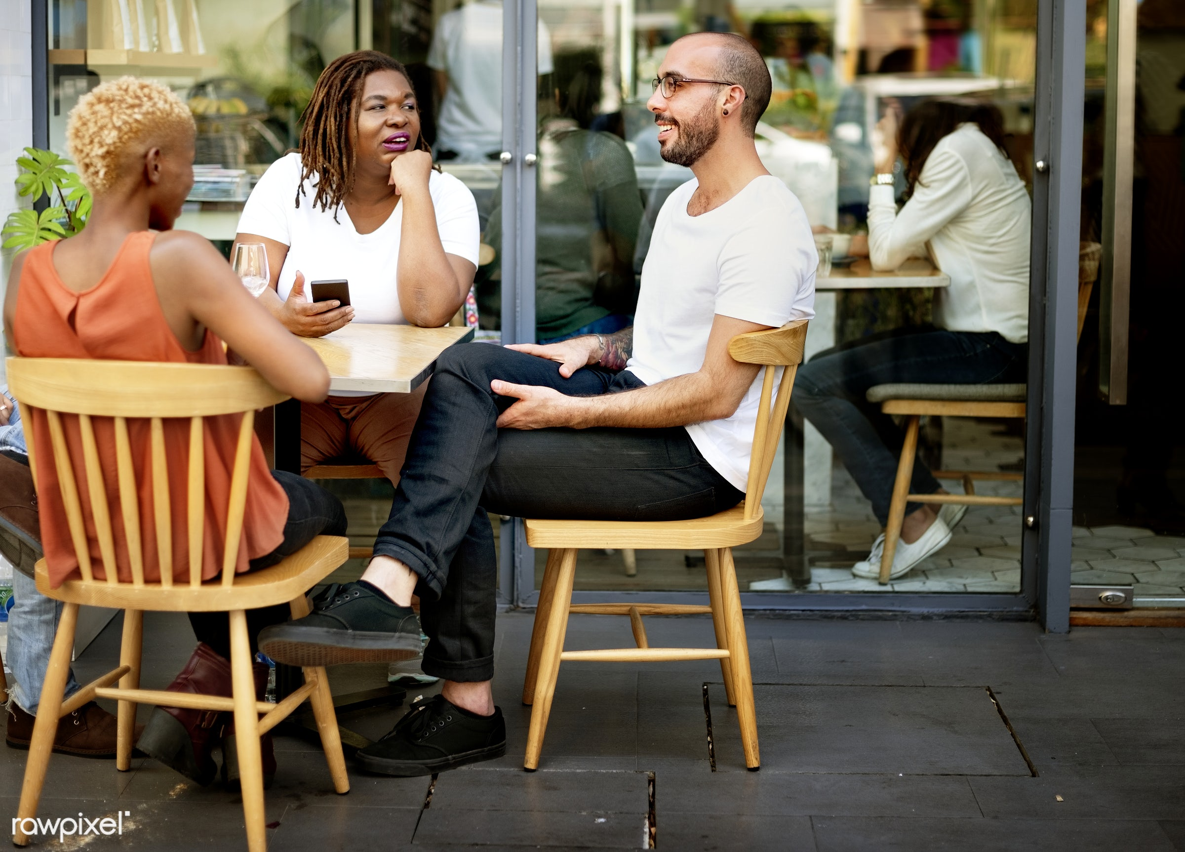african descent, bistro, break, brown, cafe, coffee, coffee shop, communication, contemporary, design, discussion, enjoyment...
