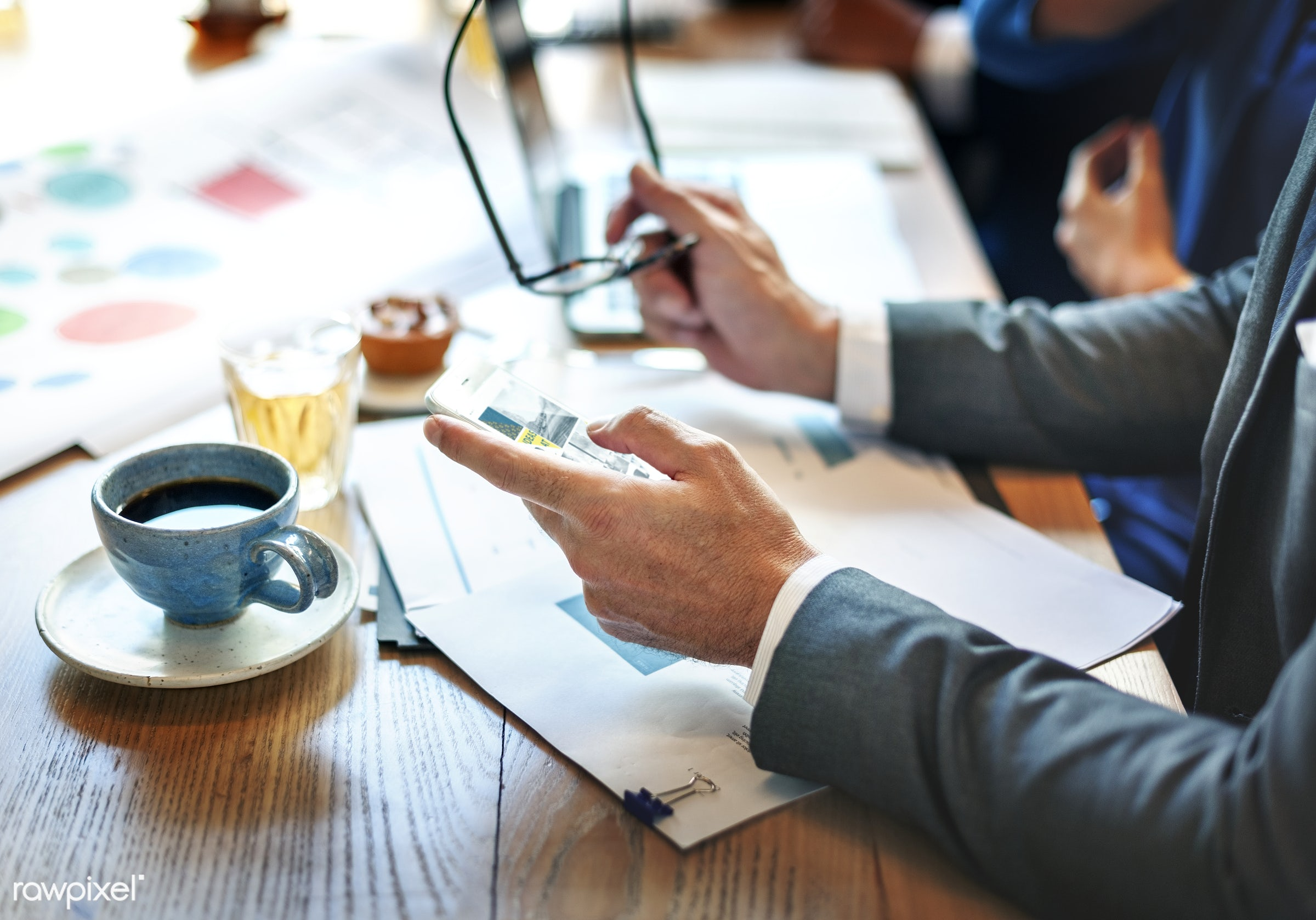 analysis, brainstorming, break, business people, businessmen, cake, cellphone, closeup, coffee, coffee cup, communication,...