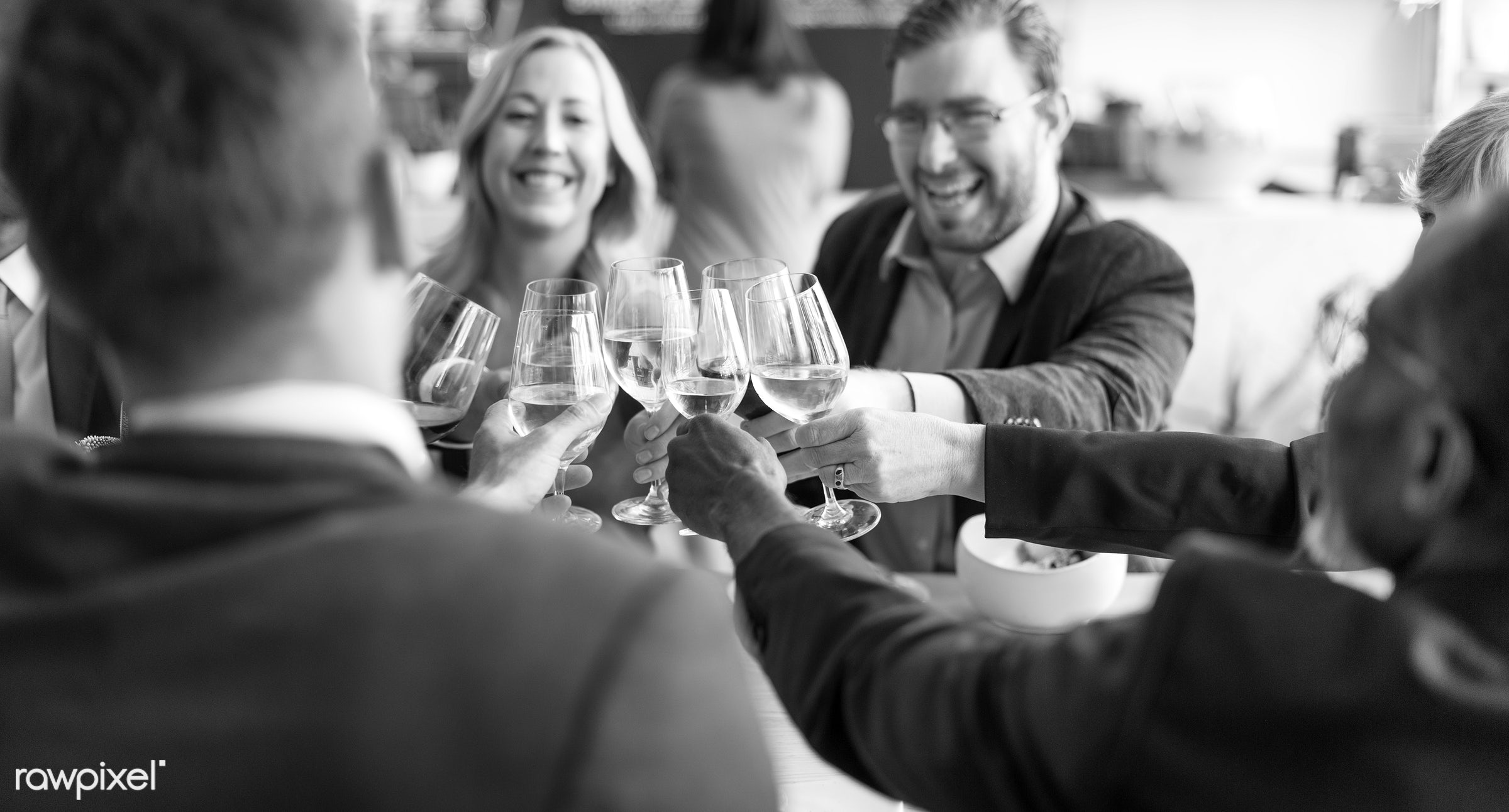 People Cheers Celebration Toast Happiness Togetherness Concept - african american, african descent, asian, black, caucasian...
