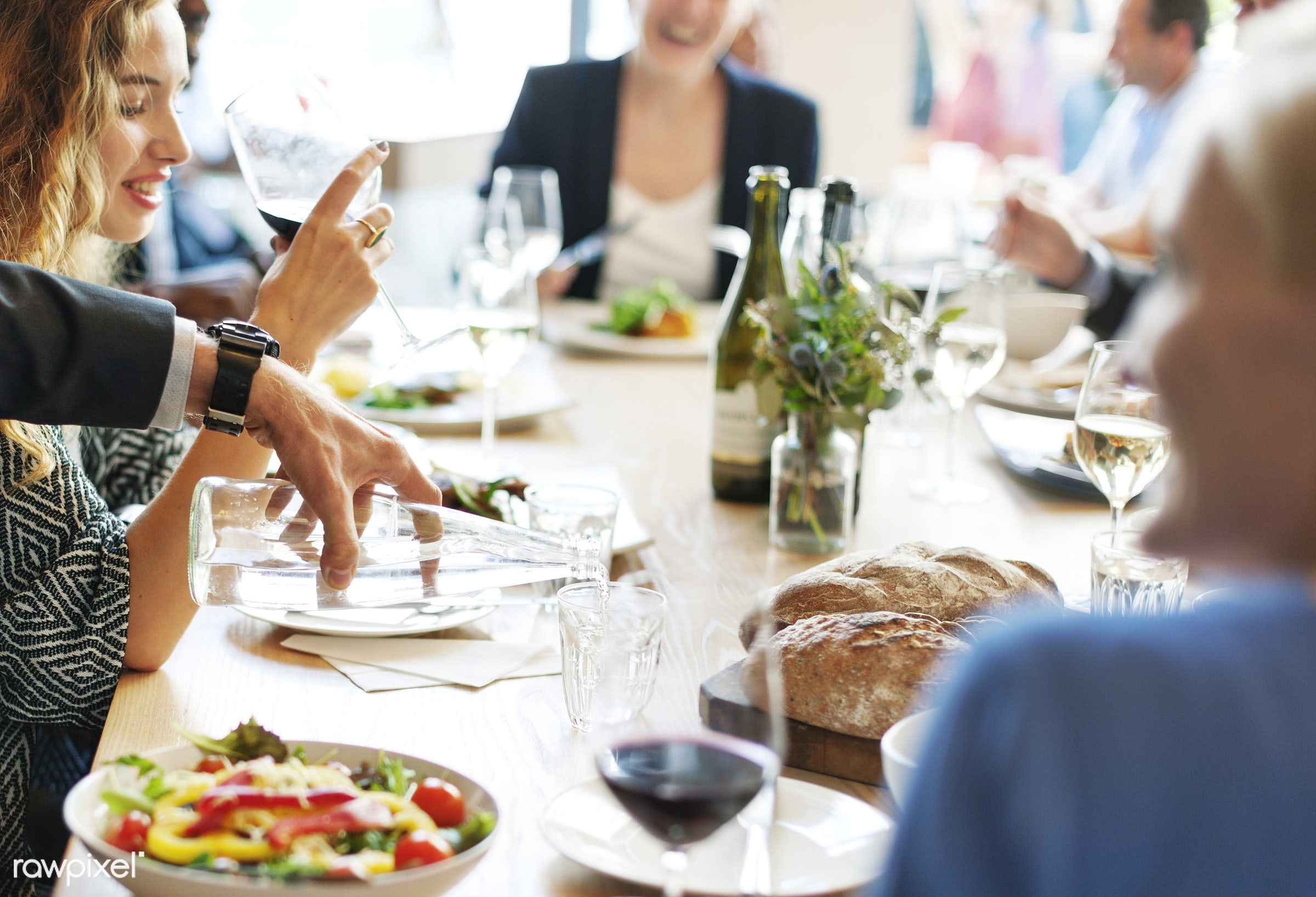 Group of diverse people are having lunch together - african american, african descent, asian, black, business, business...