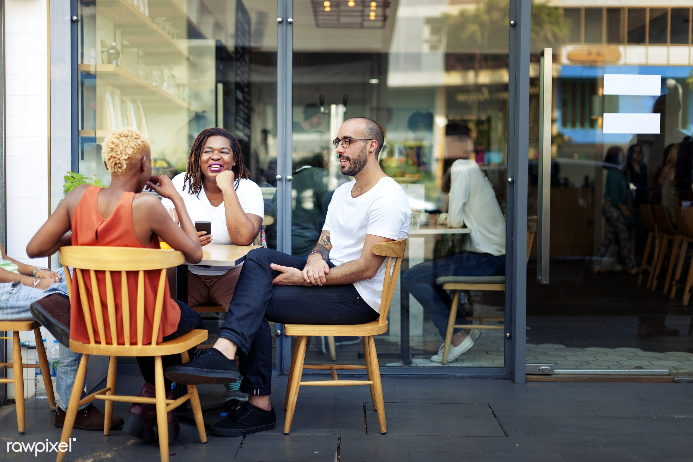 Group of friends are talking together - coffee shop, shop, african american, african descent, beverage, black, cafe,...