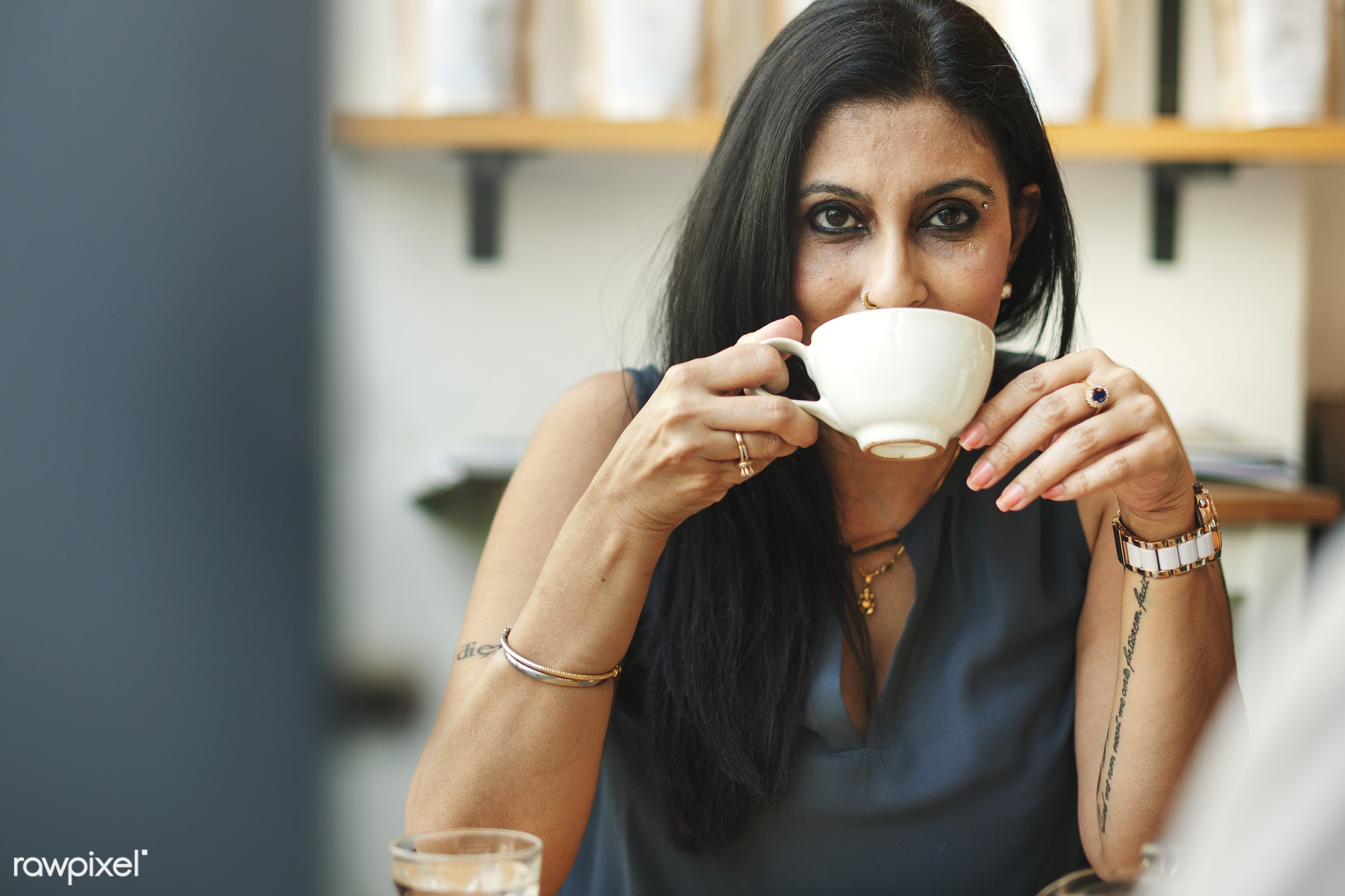 Woman Drinking Coffee Shop Relaxation Concept - alone, awake, cheerful, coffee, cup, drinking, indian, mature, morning, one...