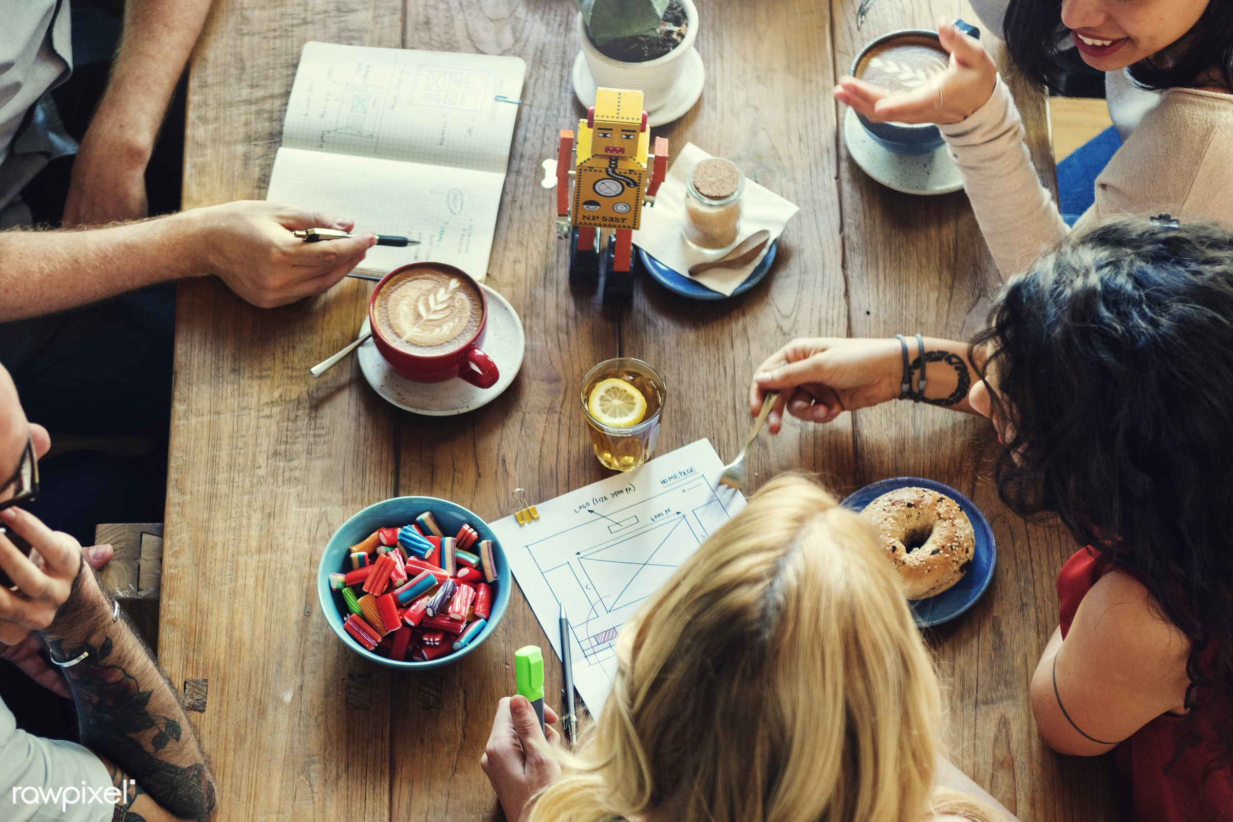 aerial view, asian ethnicity, brainstorming, cafe, cappuccino, casual, cheerful, coffee break, coffee cup, communication,...