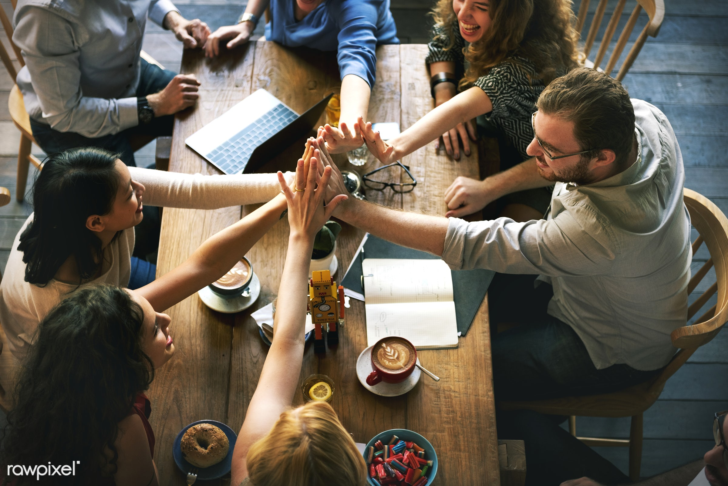 People are joining hands together as a teamwork - analysis, architecture, asian, business people, caucasian, data, design,...