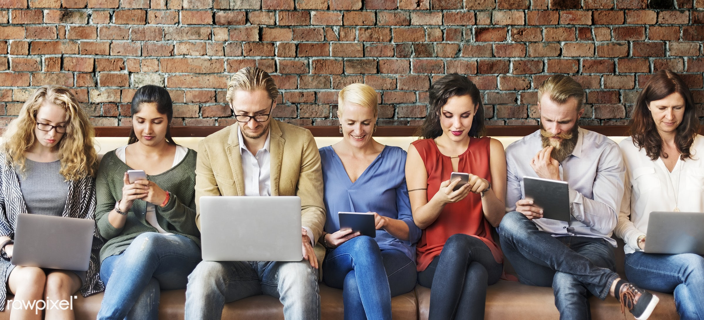 adult, brick wall, browsing, casual, cheerful, colleagues, communication, computer, connection, devices, different, digital...