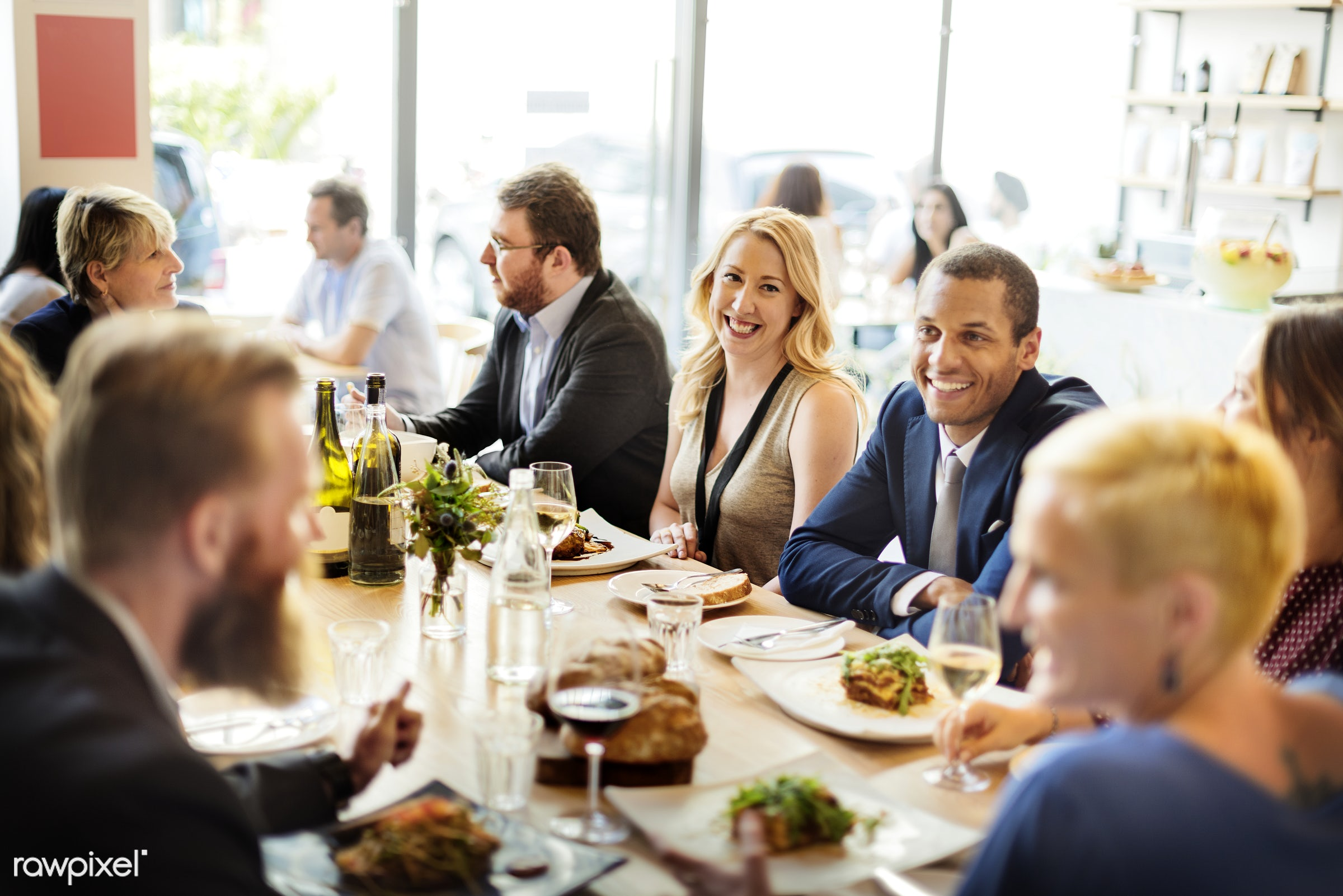 Group of diverse people are having lunch together - diverse, food, african american, african descent, asian, black, cheerful...