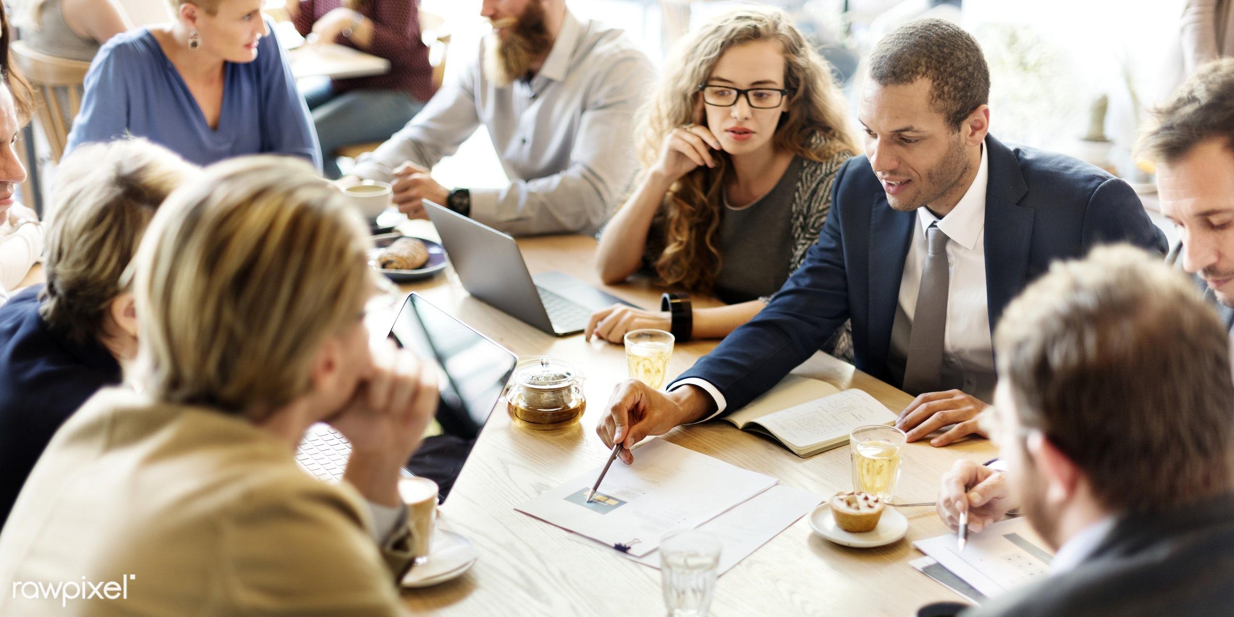 analysing, analyze, analyzing, brainstorming, business, business plan, businessmen, businesswomen, cafe, coffee shop,...