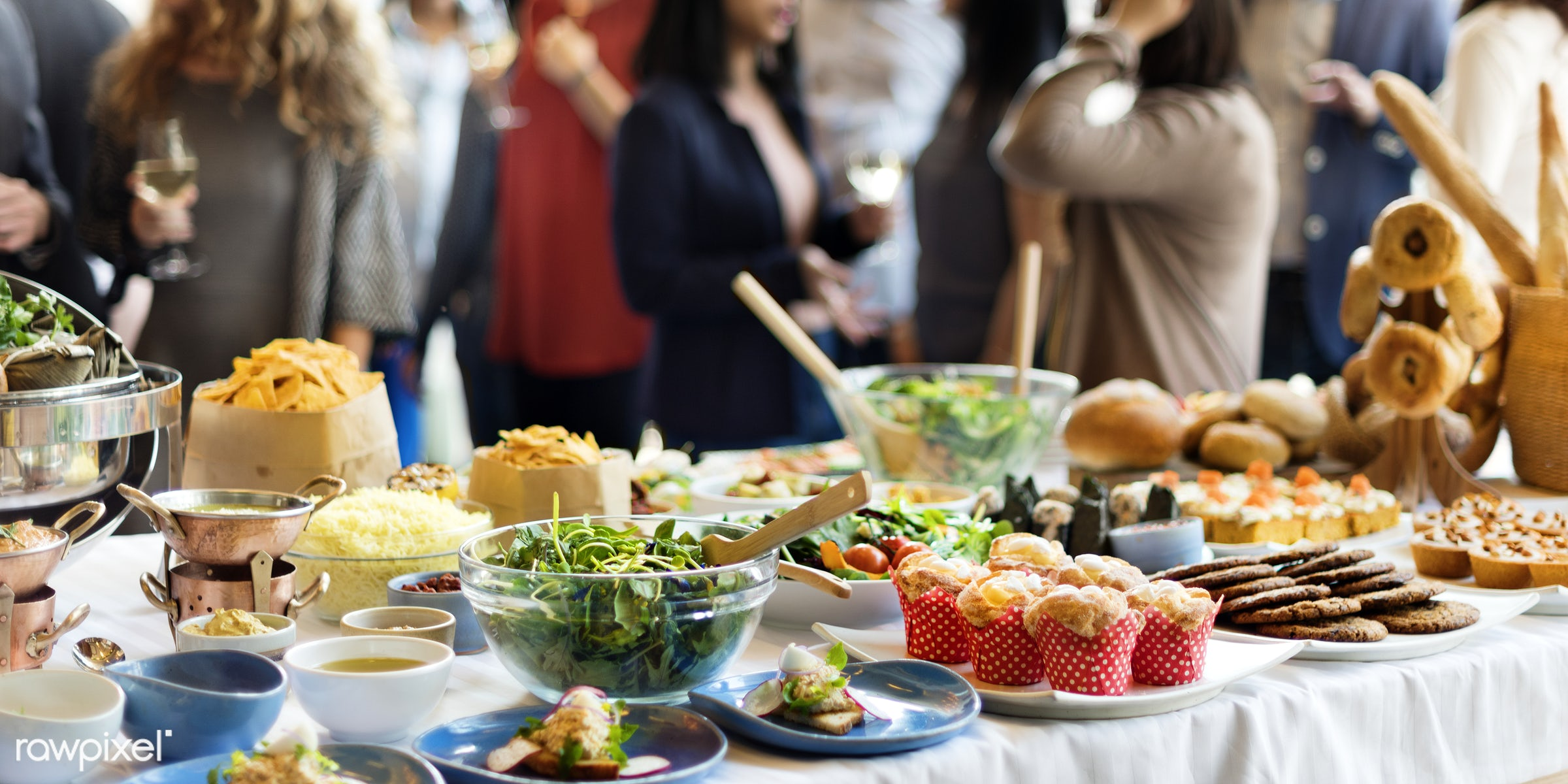 Group of diverse people are having lunch together - african american, african descent, asian, black, cheerful, cuisine,...