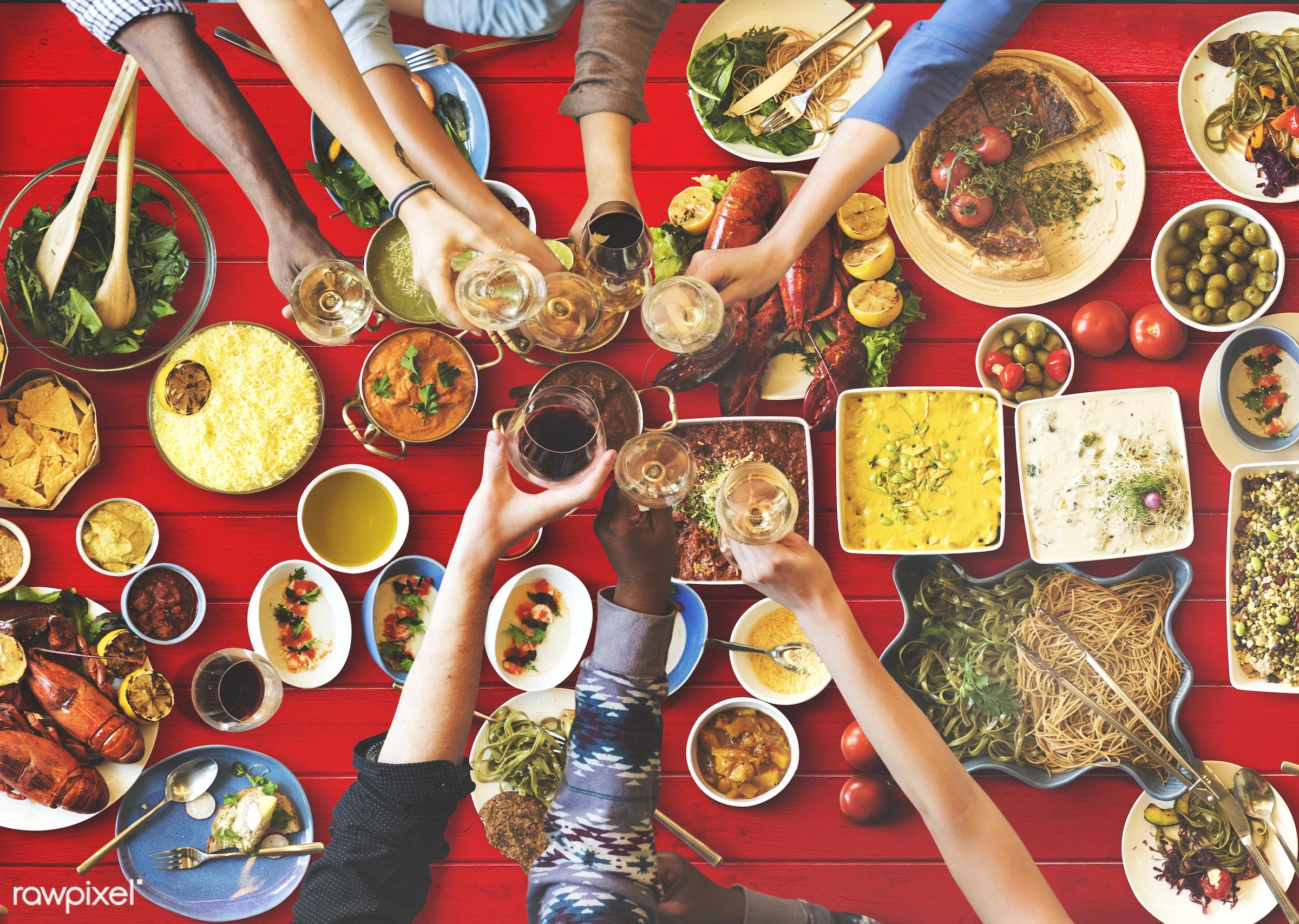 brunch, buffet, cafe, celebration, cheering, cheers, choice, crowd, dessert, diet, dining, dinner, diversity, drinking, eat...