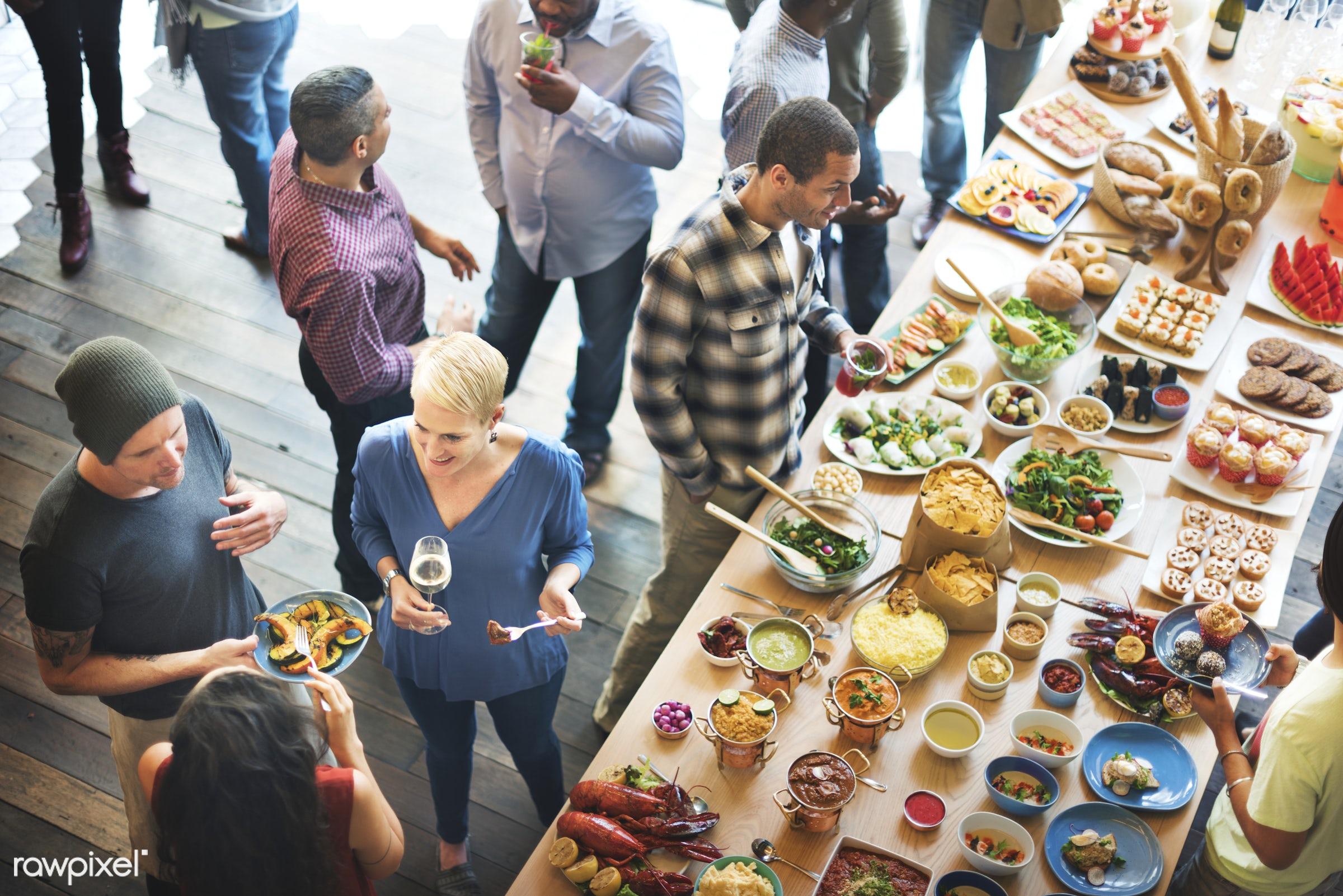 asian food, brunch, buffet, cafe, celebration, choice, crowd, dessert, diet, dining, dinner, diversity, drinking, eat,...