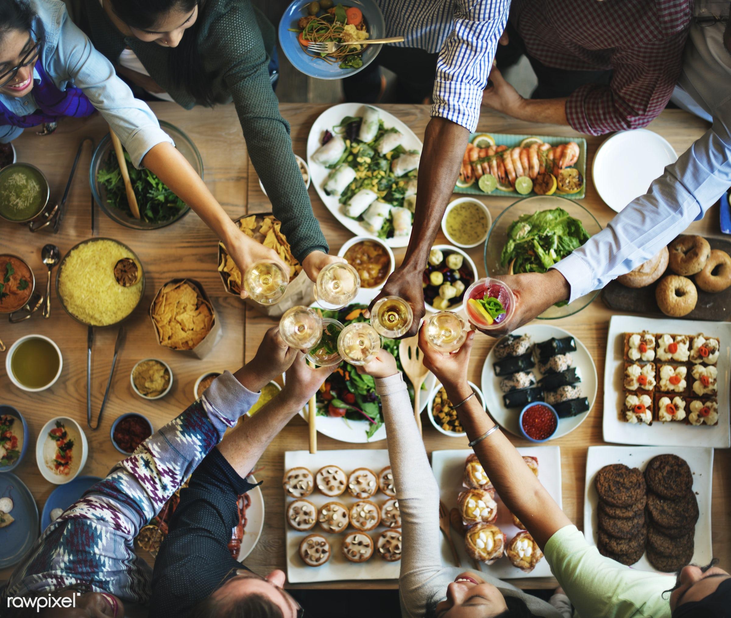 asian food, brunch, buffet, cafe, celebration, cheering, cheers, choice, crowd, dessert, diet, dining, dinner, diversity,...