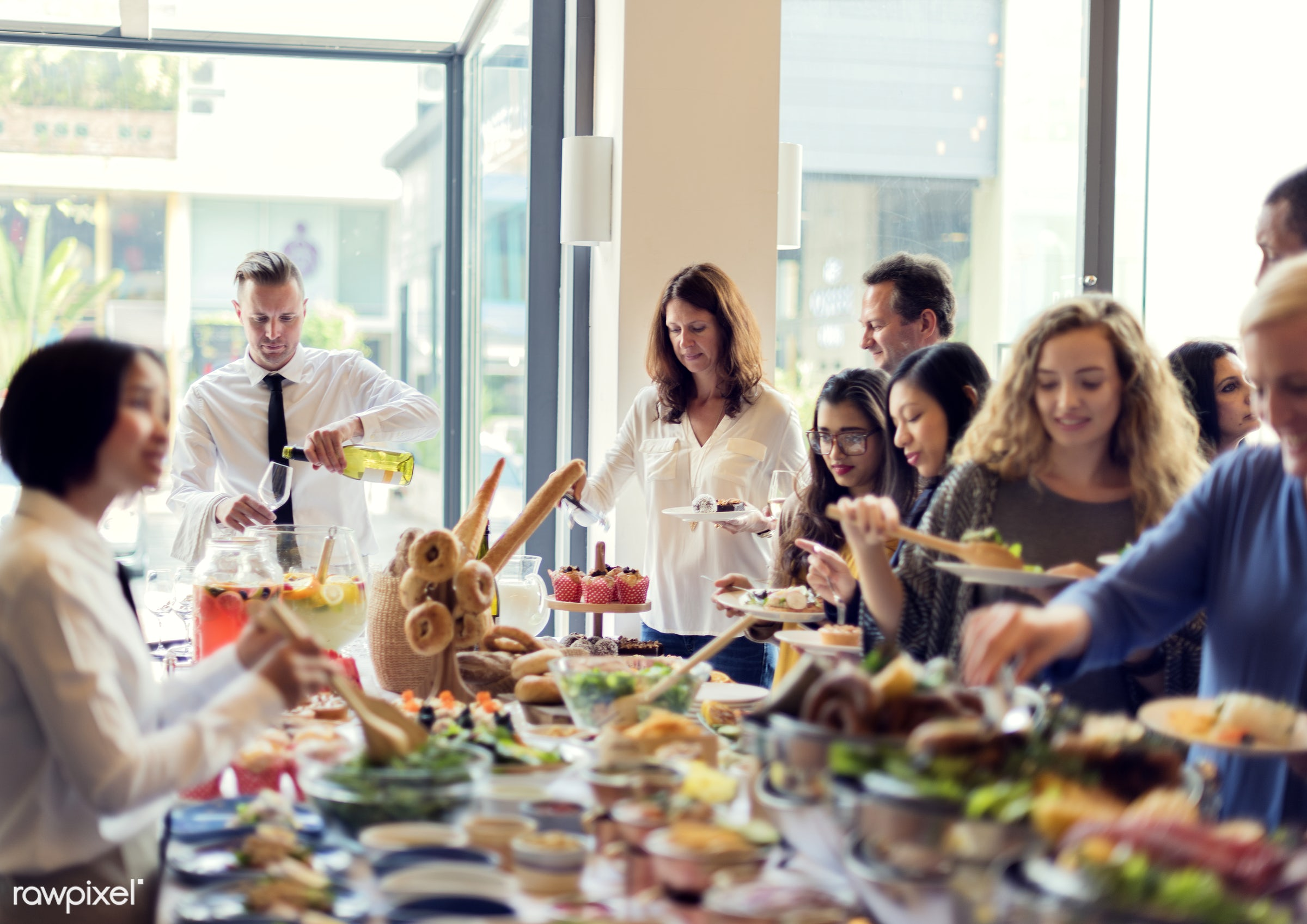buffet, anniversary, birthday party, cafe, casual, catering, celebrate, celebration, community, companionship, connection,...
