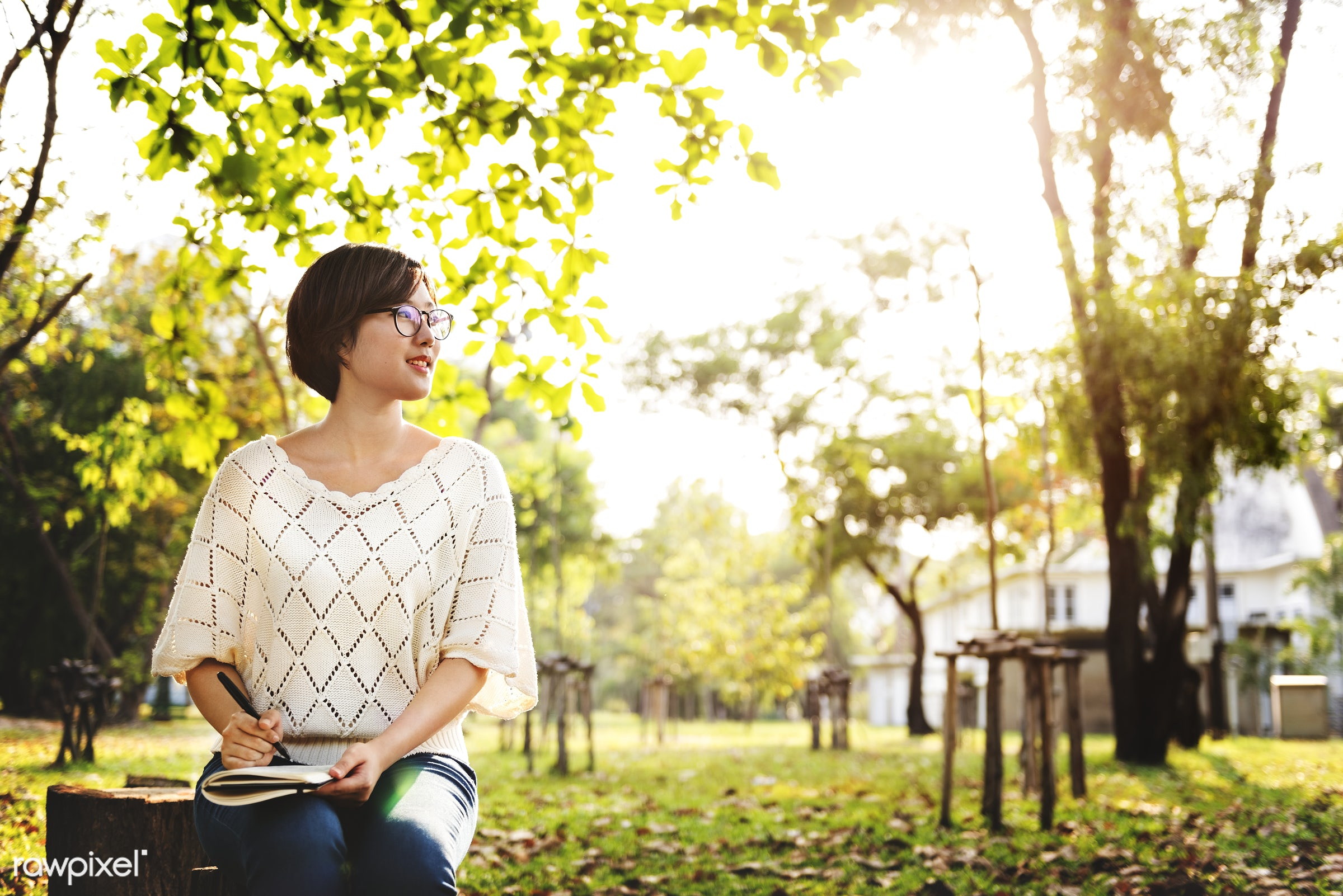 education, journal, alone, asian, attractive, beautiful, book, brunette, day, diary, girl, glasses, grass, green, happy,...