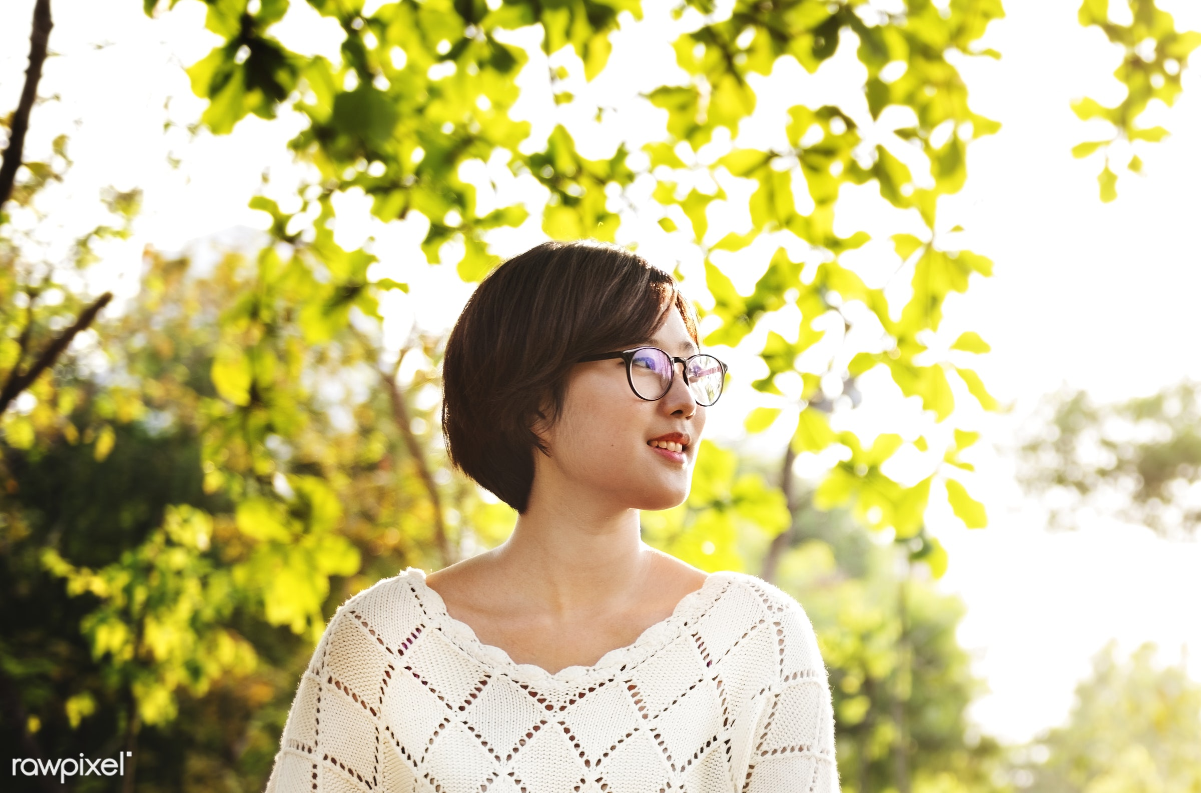 An Asian woman in the park - student, dream, korean, outside, adult, asian, beautiful, beauty, cheerful, cheering, coffee,...