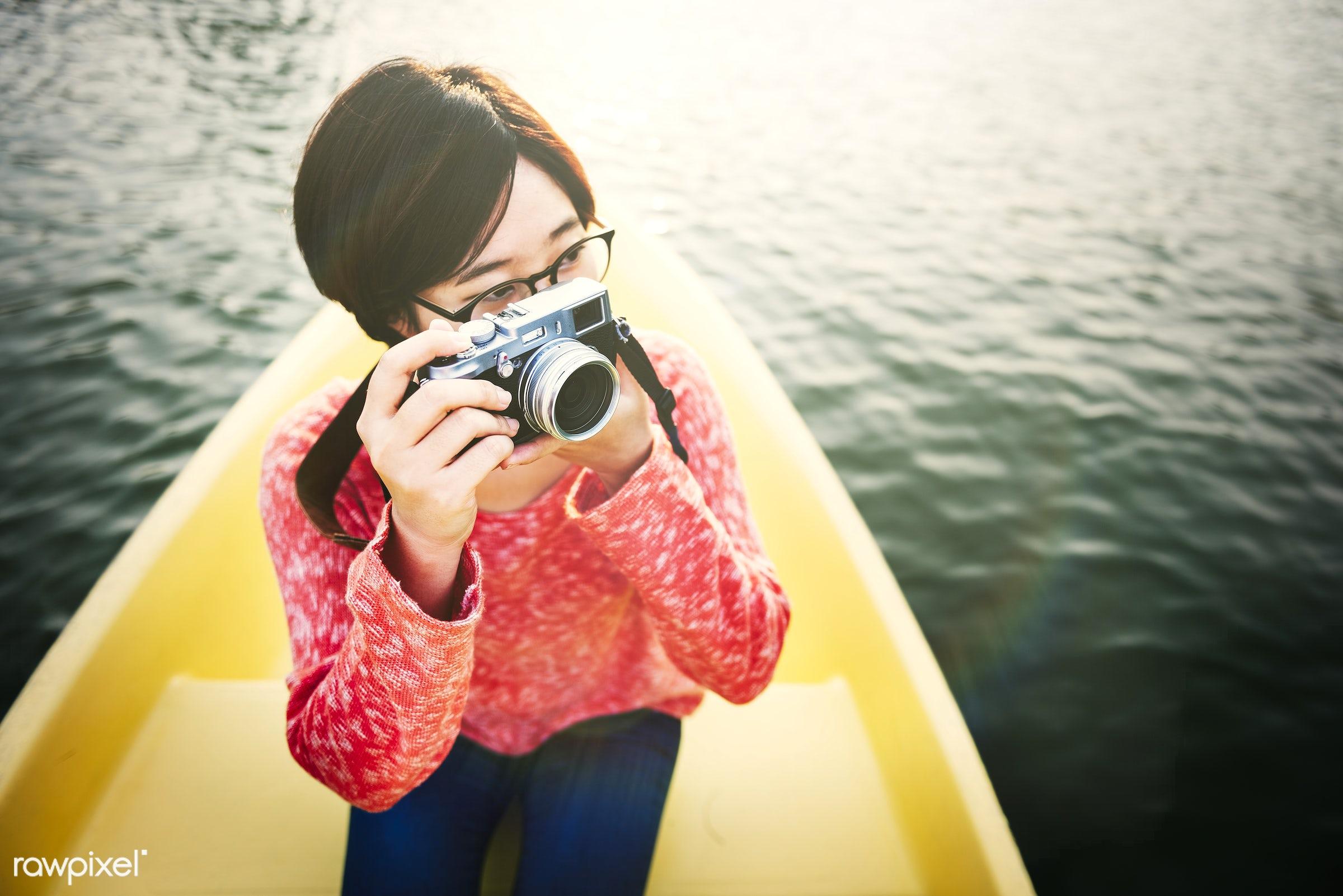 kayak, activity, adventure, beautiful, boat, camera, canoe, canoeing, casual, destination, enjoyment, freedom, fun, girl,...