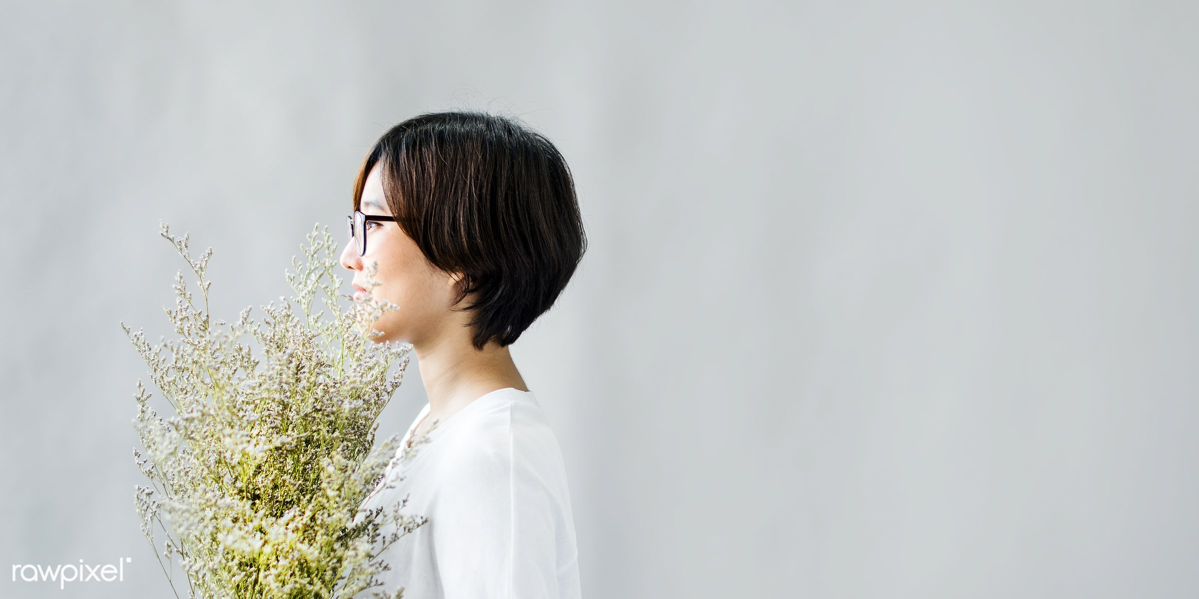 alone, asian ethnicity, bouquet, calm, casual, cheerful, chilling, concrete, dating, enjoyment, femininity, flower, gift,...