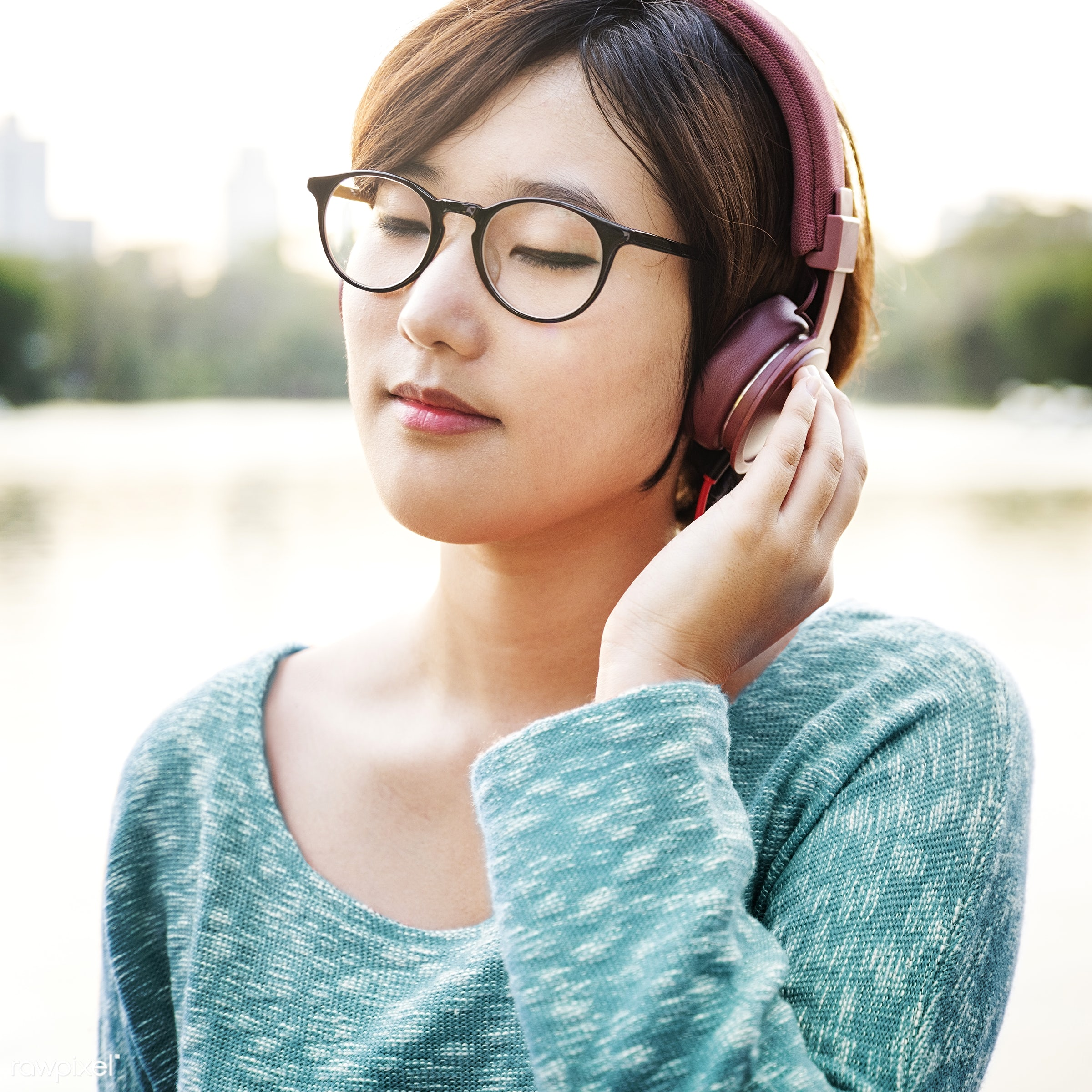 activity, asian ethnicity, audio equipment, calm, casual, chilling, earphones, electronic, enjoyment, entertainment,...