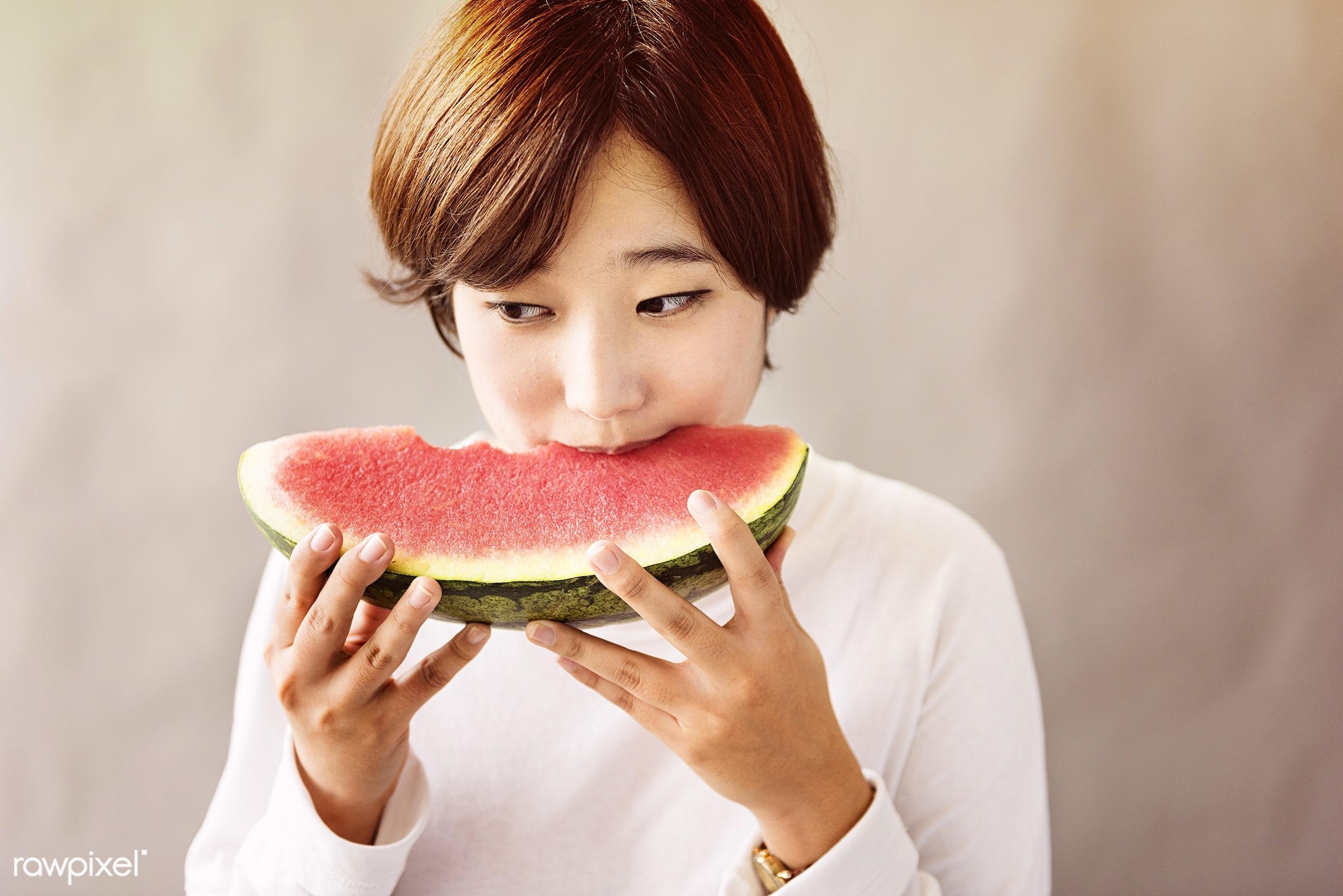 refreshment, asian, asian ethnicity, calm, casual, cheerful, chilling, dessert, eating, enjoyment, fresh, fruit, girl,...