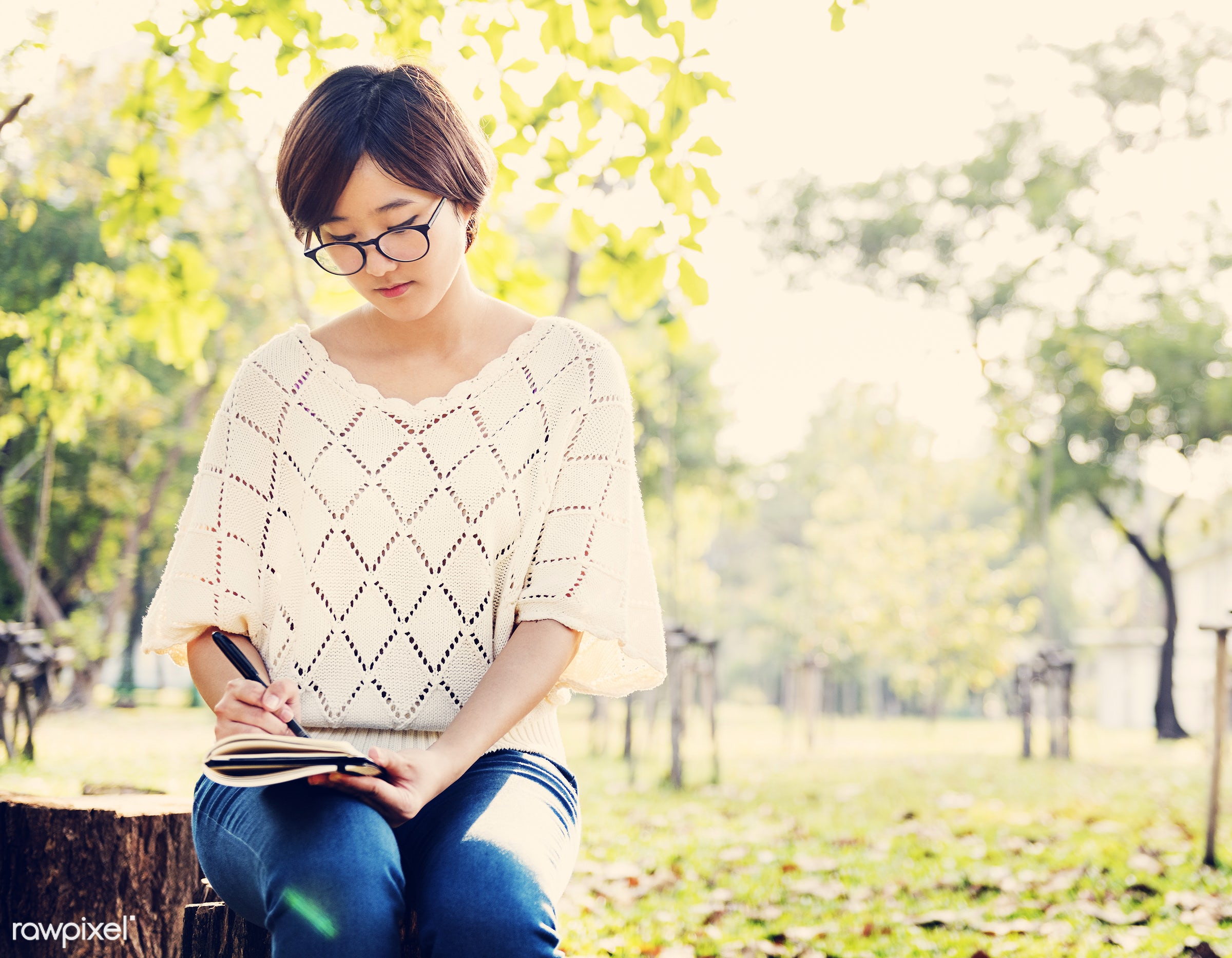alone, asian, asian ethnicity, beautiful, book, casual, diary, education, environment, environmental, garden, girl, glasses...
