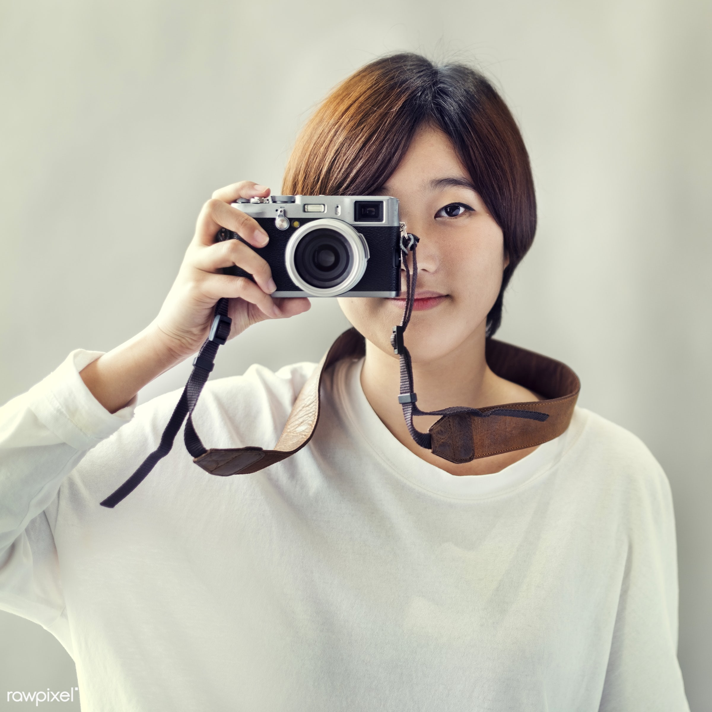 journalist, photographing, activity, asian ethnicity, attractive, beautiful, camera, casual, cheerful, confidence, female,...