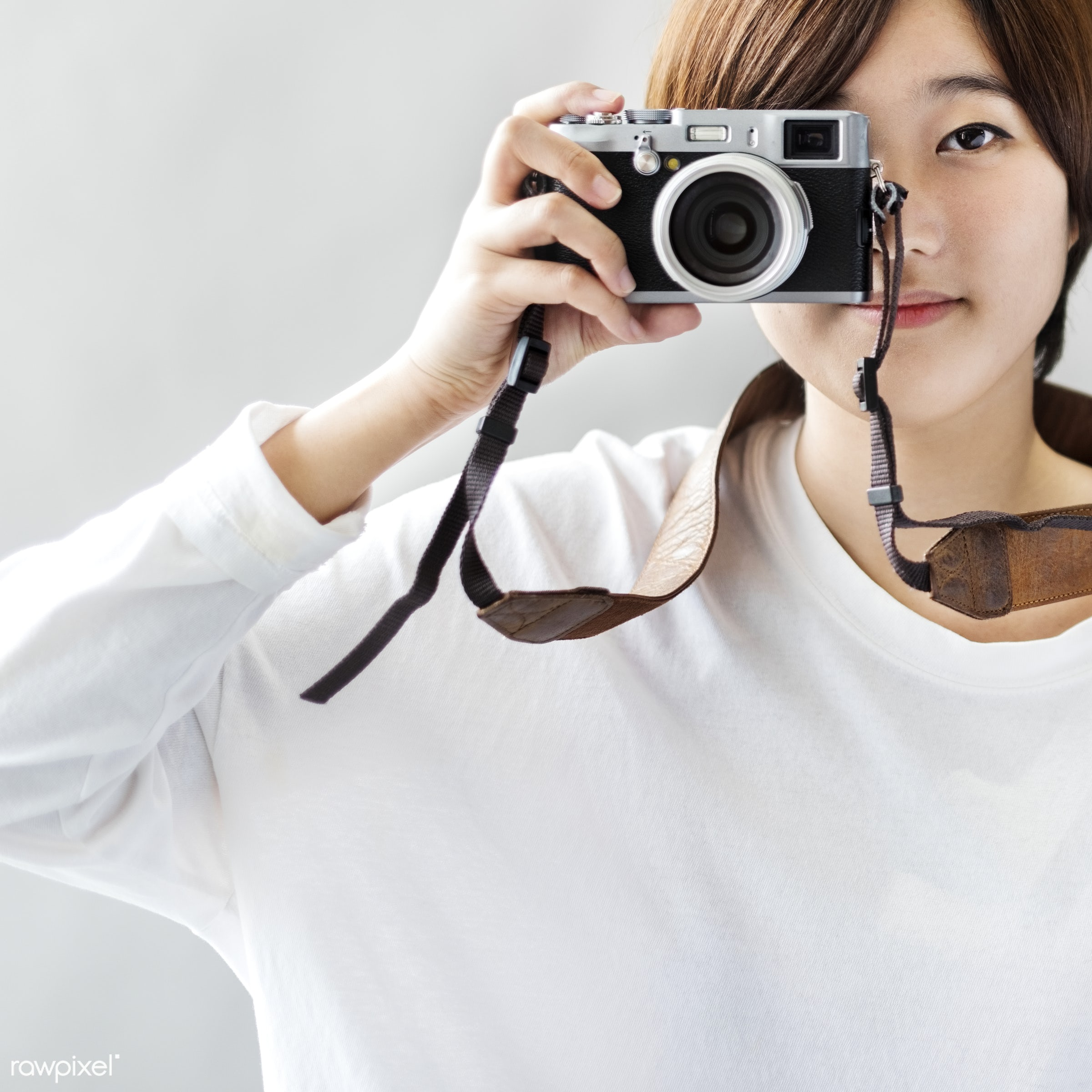 An Asian woman taking photographs - free, active, adult, art, artistic, asian, attractive, beautiful, brunette, camera,...