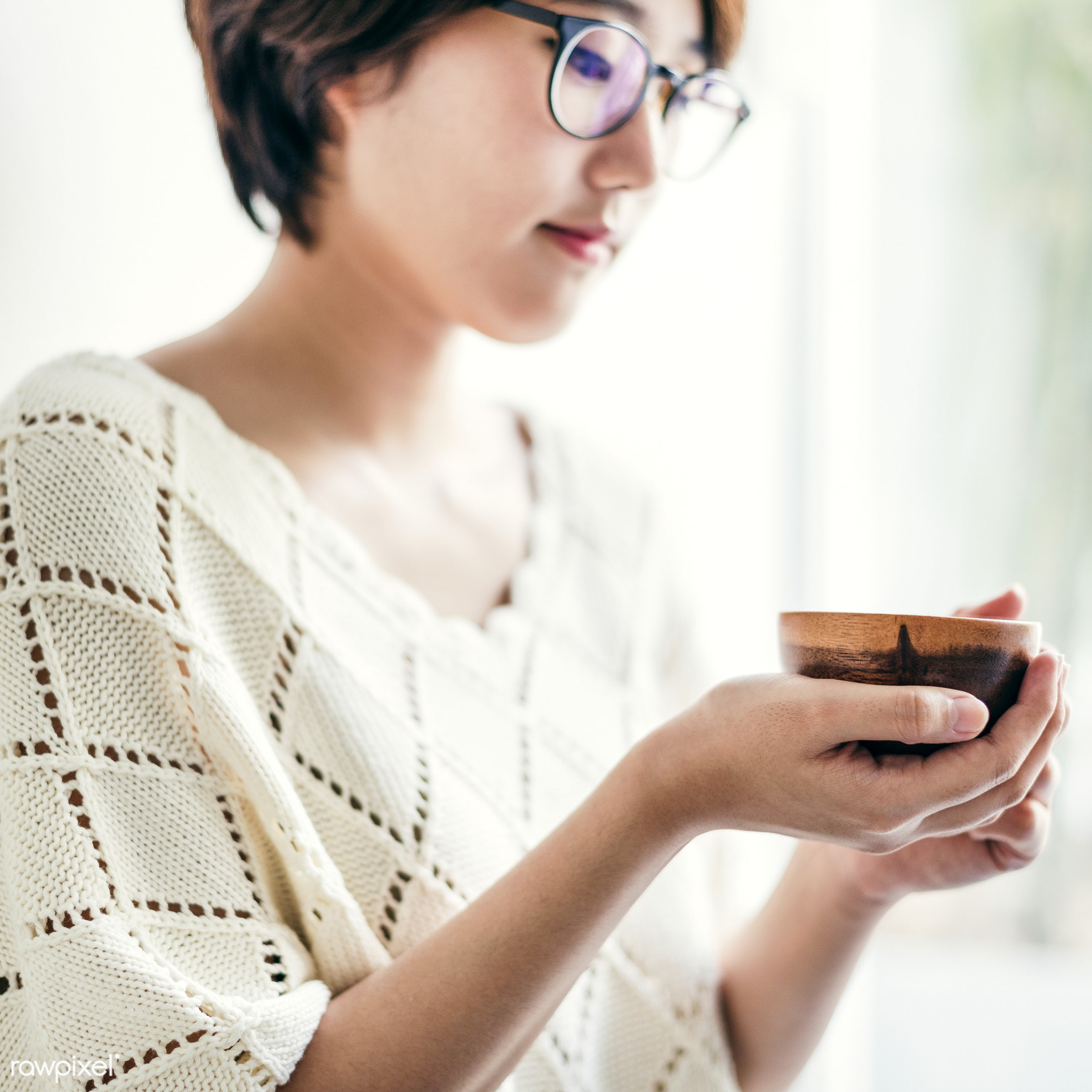 An Asian woman enjoying her tea - asian ethnicity, beverage, calm, casual, cheerful, chilling, dehydrate, drink, drinking,...