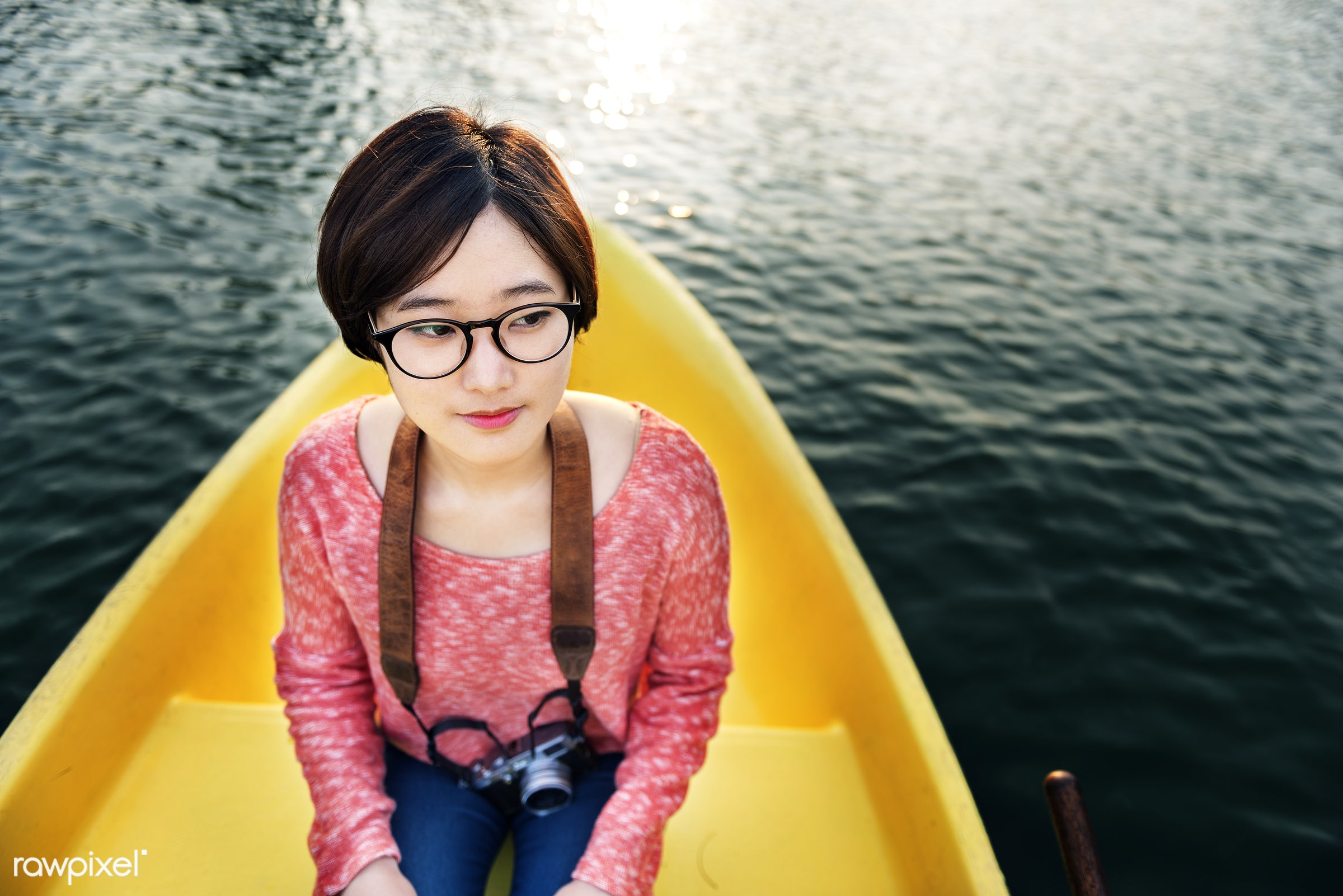 Girl's adventure on a boat ride - canoe, activity, adventure, asian ethnicity, beautiful, boat, camera, canoeing, casual,...