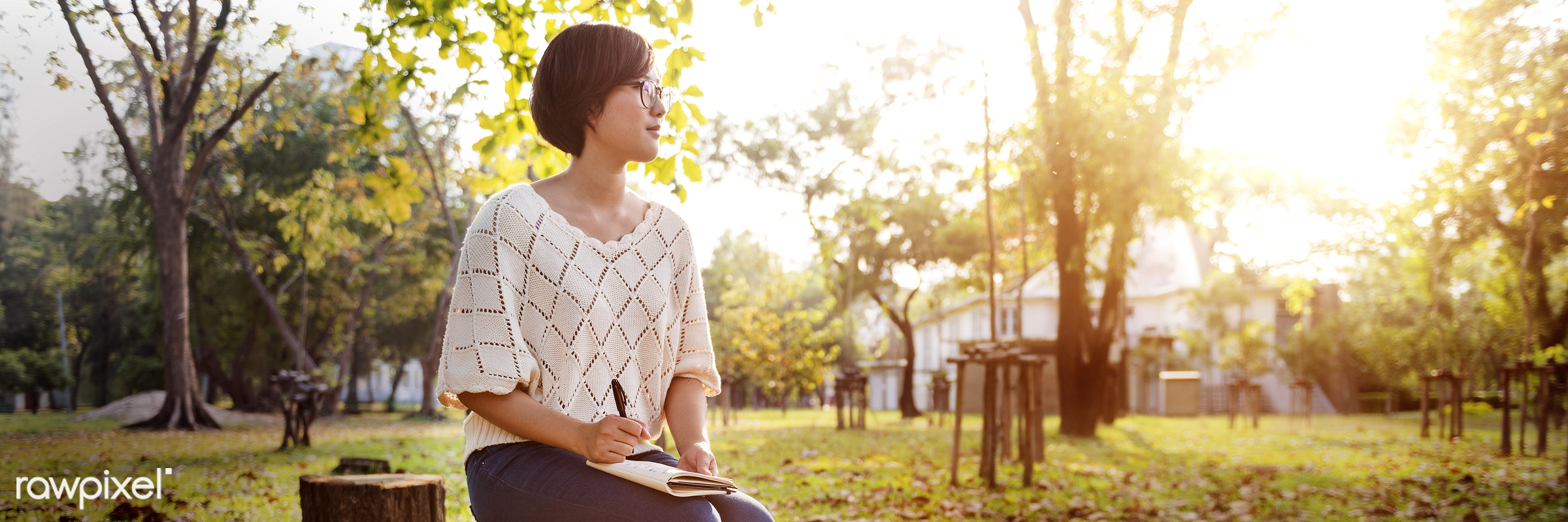 alone, asian, attractive, beautiful, book, brunette, day, diary, education, girl, glasses, grass, green, happy, house,...