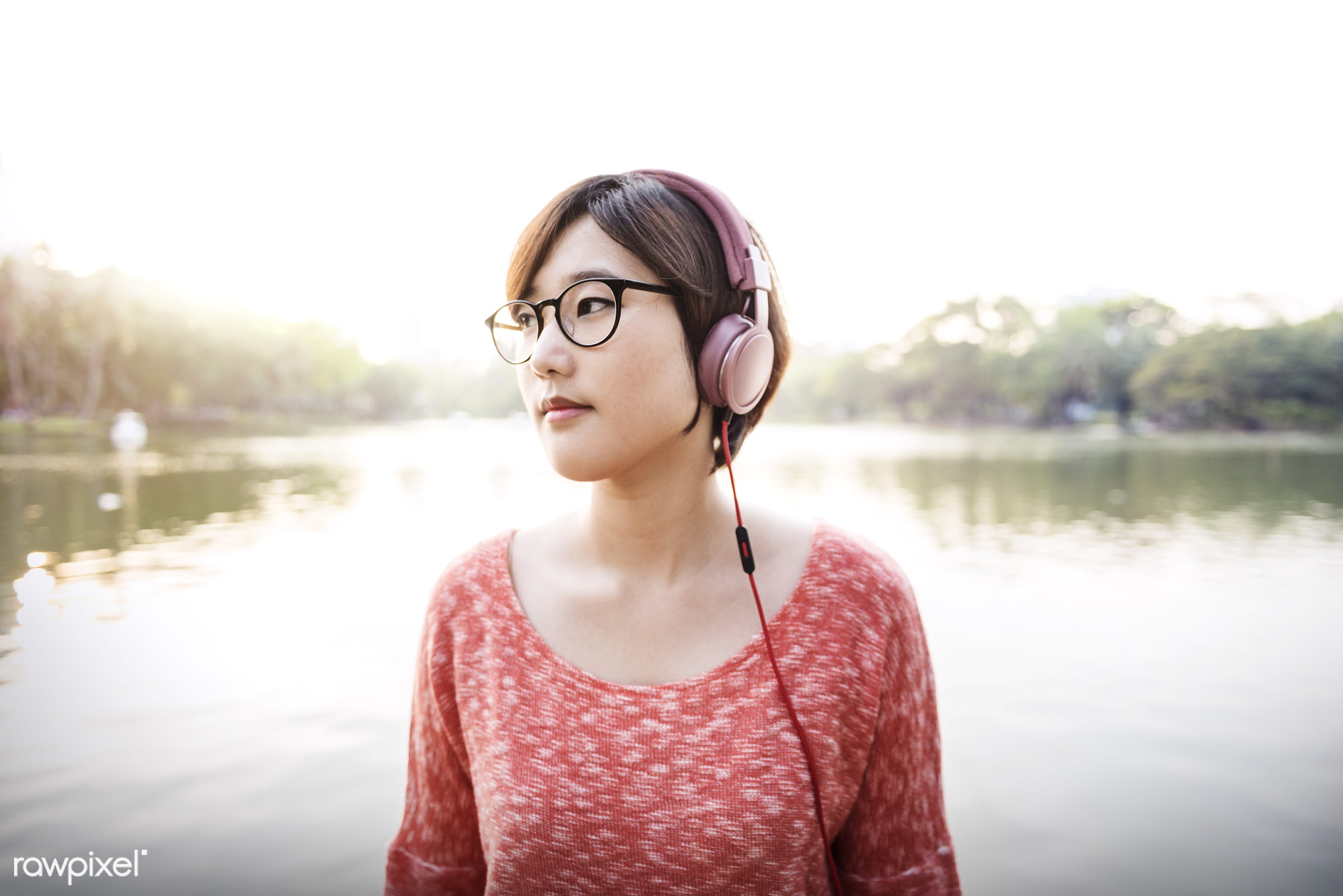 active, adult, asian, audio, brunette, casual, device, earphones, electronic, enjoyment, face, free, girl, glasses,...