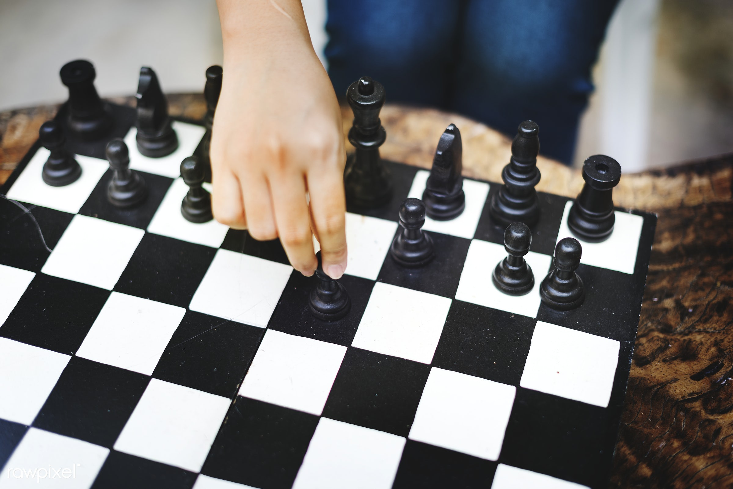 Solo chess playing - game, challenge, activity, black, black and white, board, checkered, chess, chessboard, clever, close-...