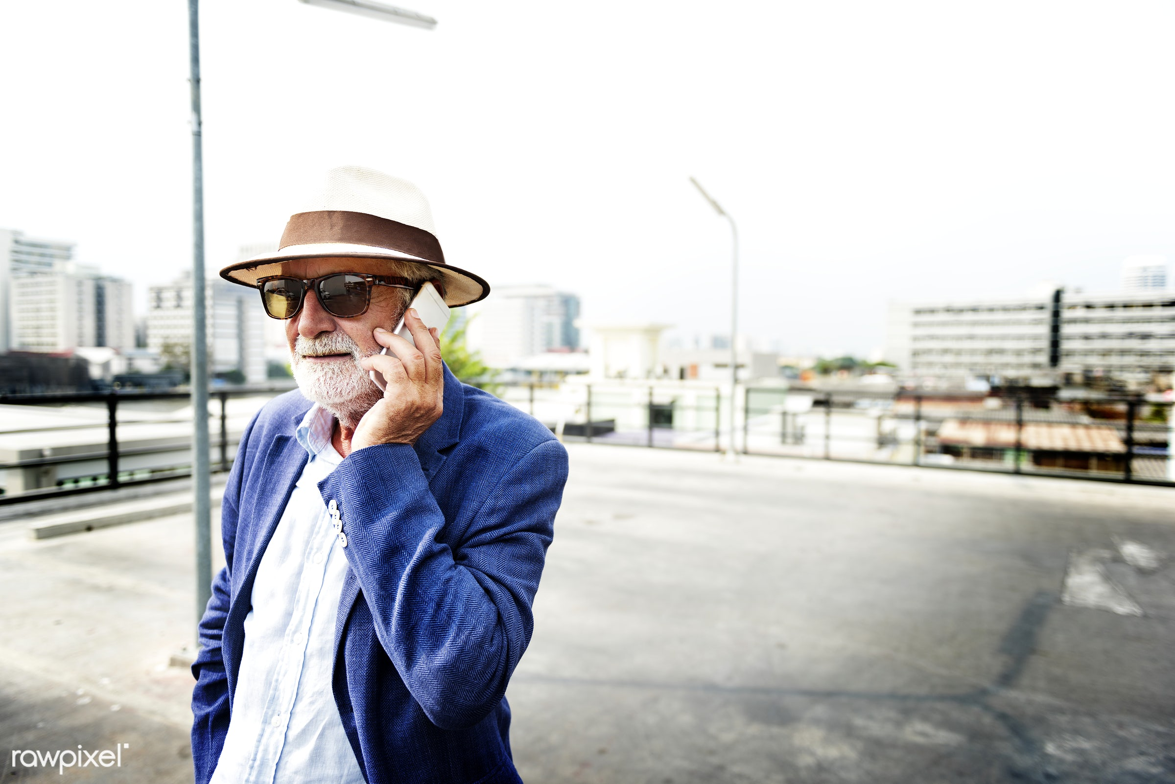 Elderly man is using mobile phone - alone, beard, casual, cellphone, communication, connection, device, digital, elderly,...