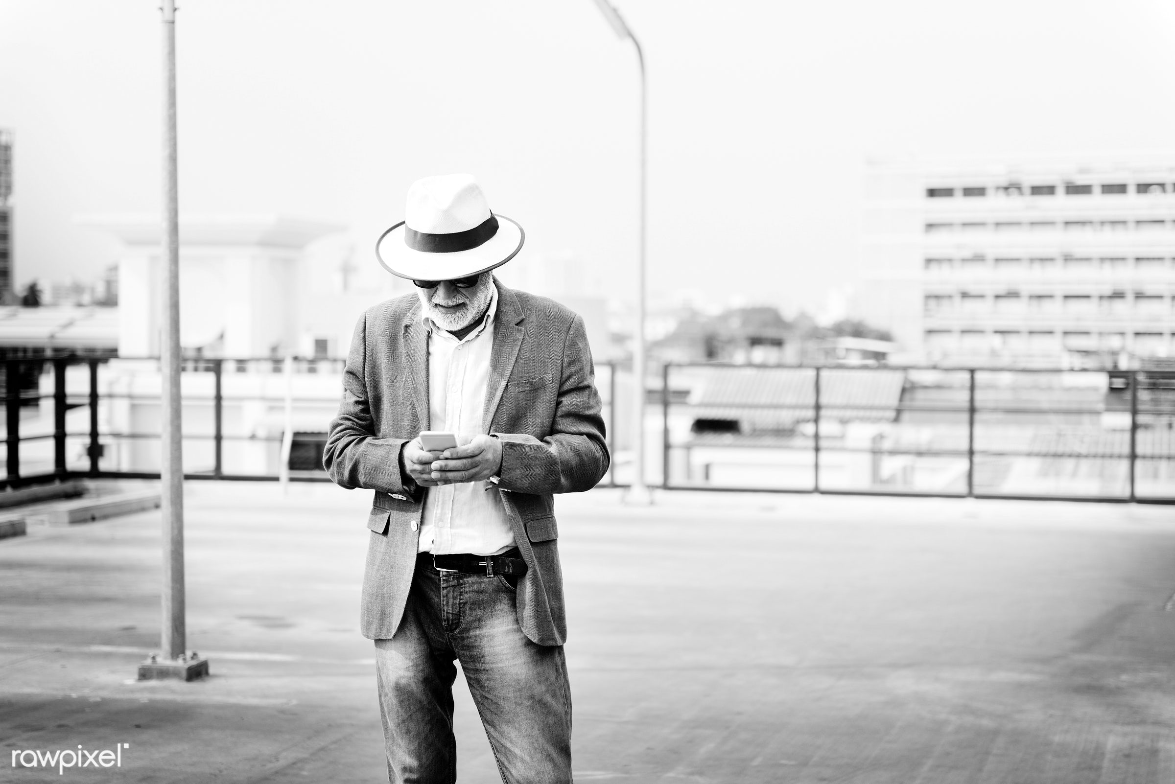hat, alone, beard, casual, caucasian, cellphone, communication, connection, device, digital, elderly, hipster, leisure,...