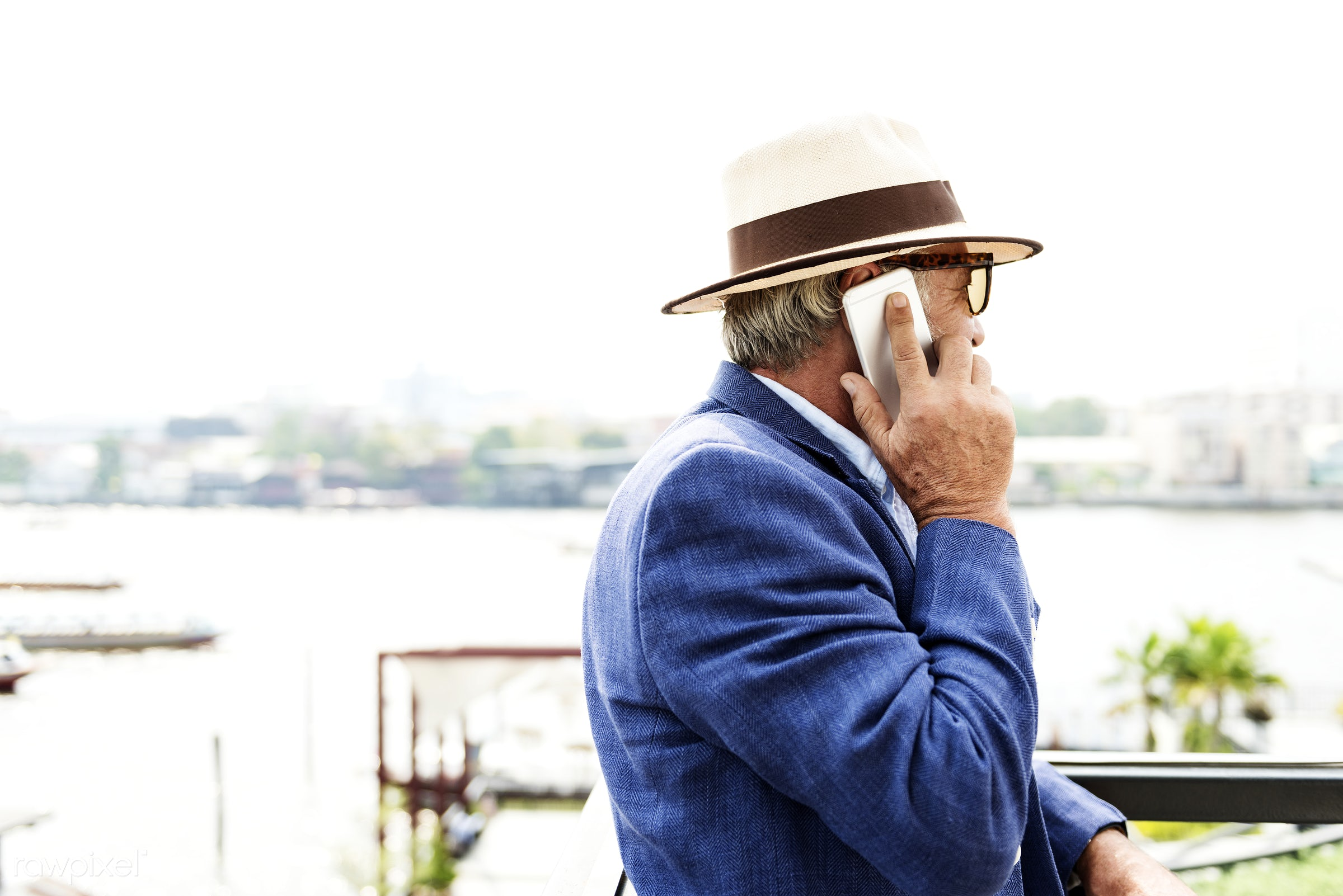 Elderly man is using mobile phone - connection, alone, beard, casual, cellphone, communication, device, digital, elderly,...