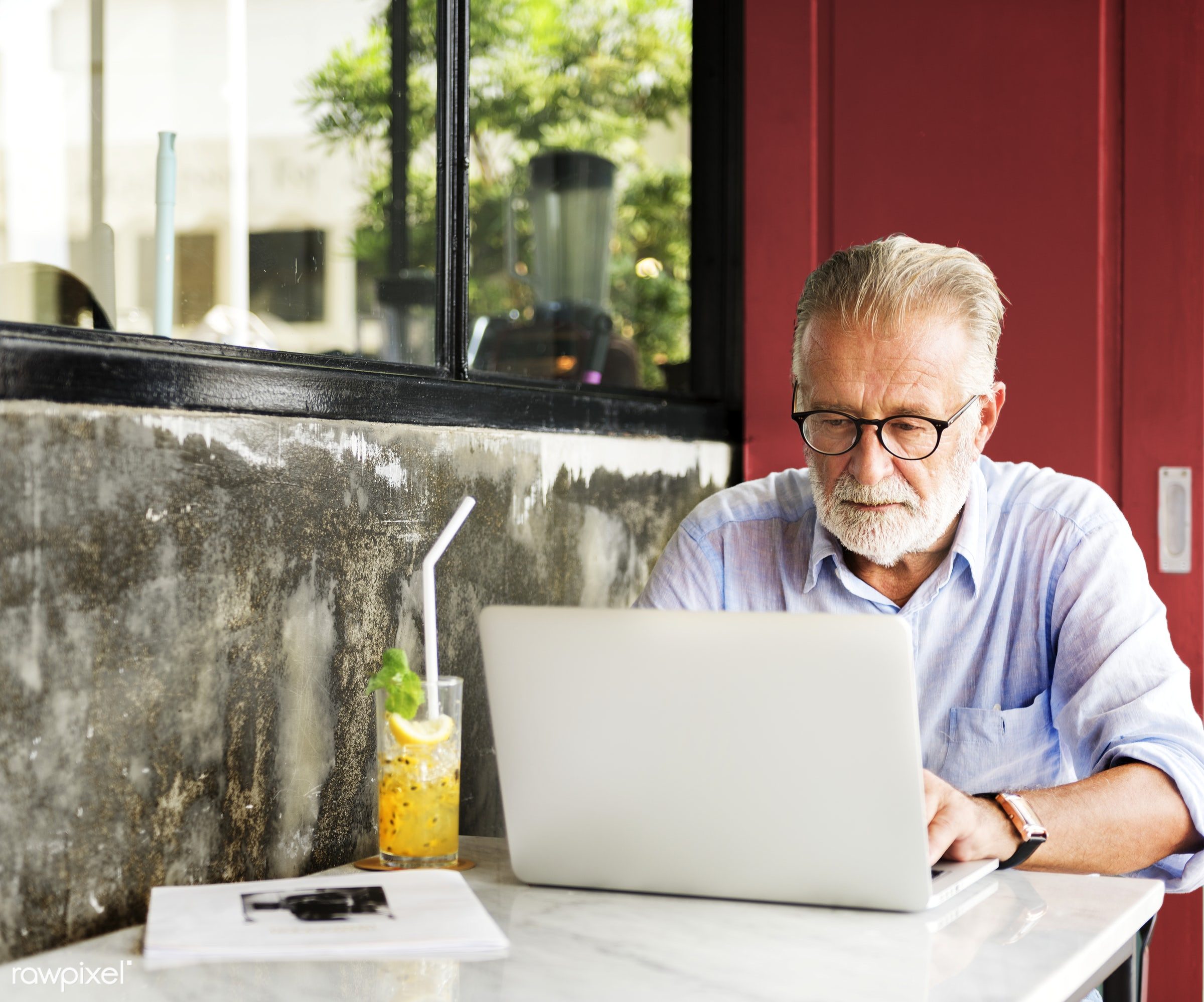 alone, beard, casual, caucasian, coffee shop, communication, computer, connection, device, digital, elderly, hipster,...