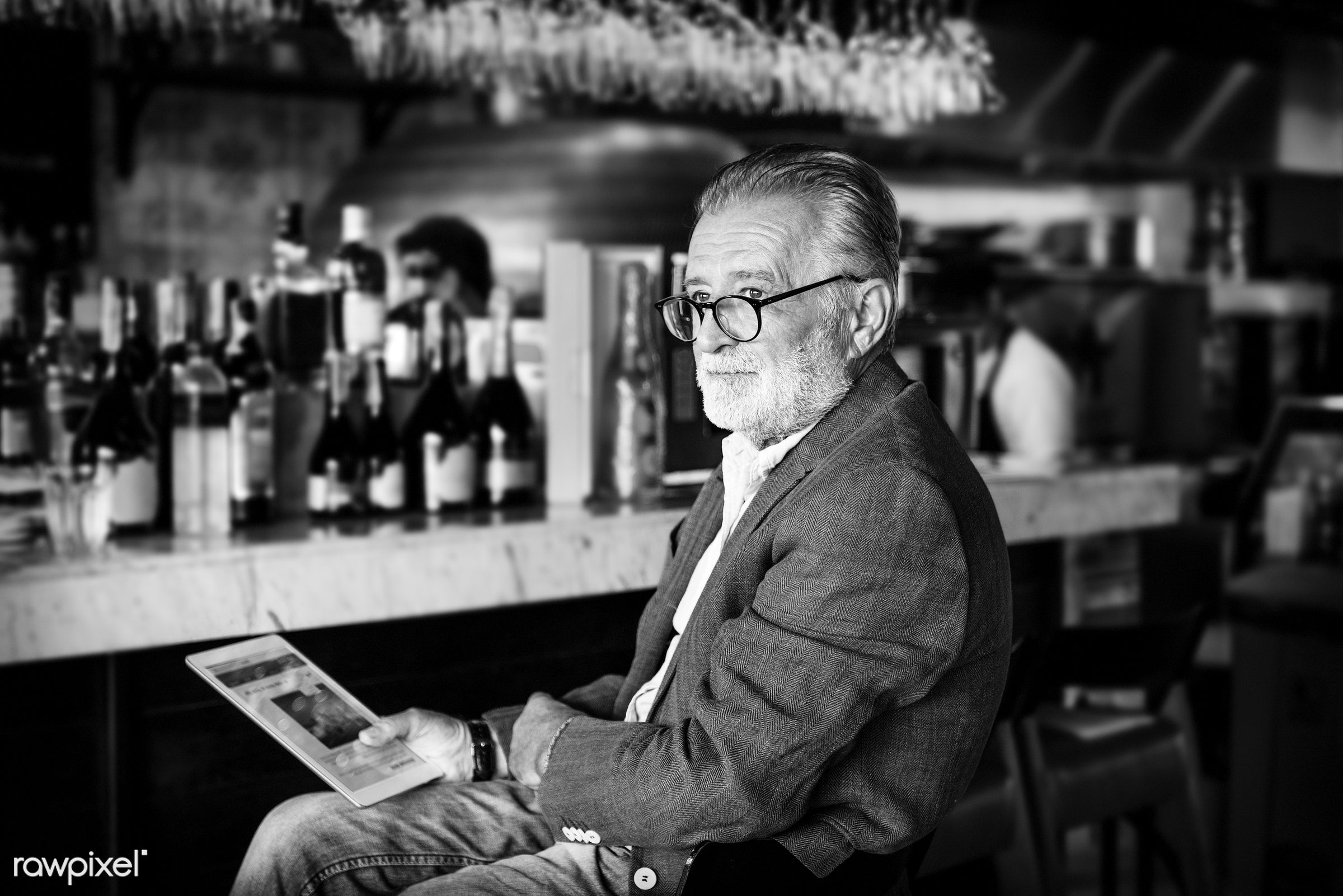alone, bar, beard, beverage, casual, caucasian, depressed, drink, elderly, emotion, expression, face, hipster, leisure,...