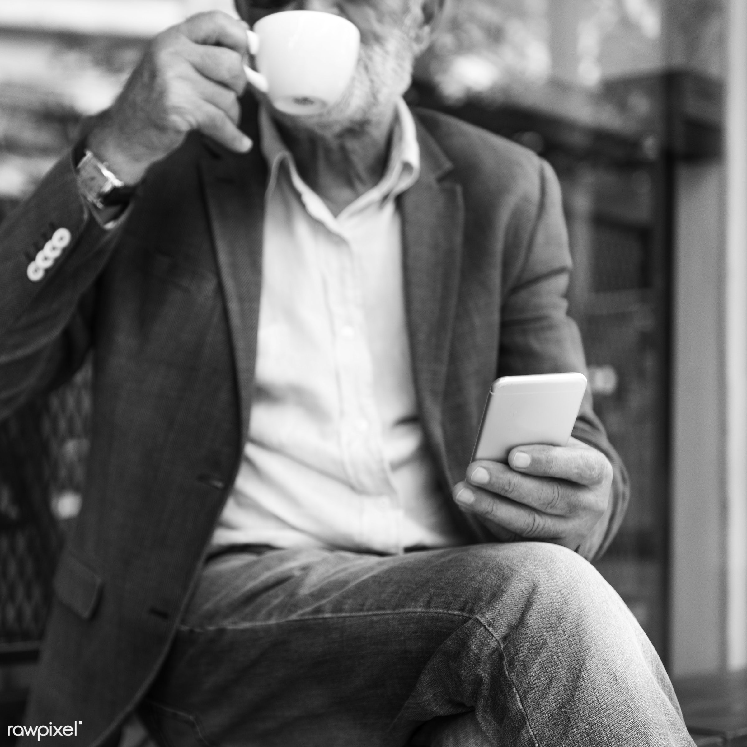 Elderly man is using mobile phone - beard, alone, casual, cellphone, communication, connection, device, digital, elderly,...