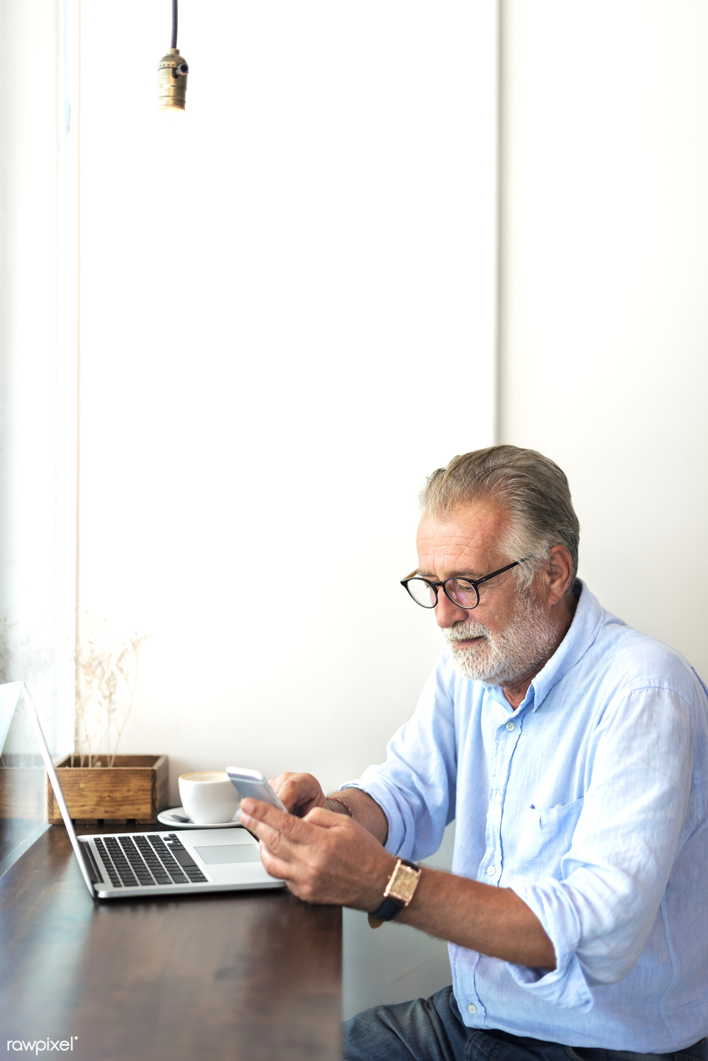 Elderly man is using mobile phone - cellphone, alone, beard, casual, communication, connection, device, digital, elderly,...