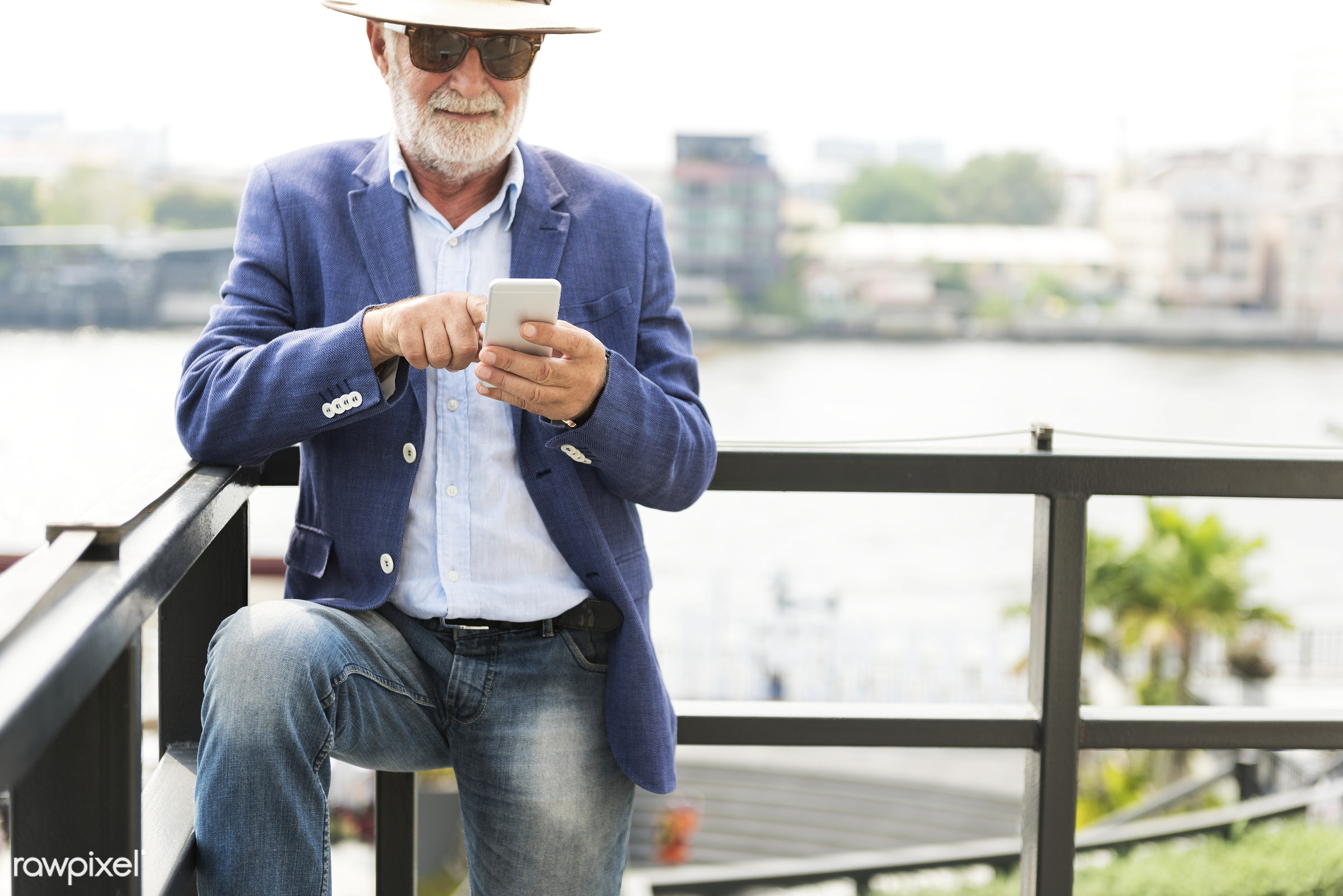 alone, beard, casual, caucasian, cellphone, communication, connection, device, digital, elderly, hat, hipster, leisure,...