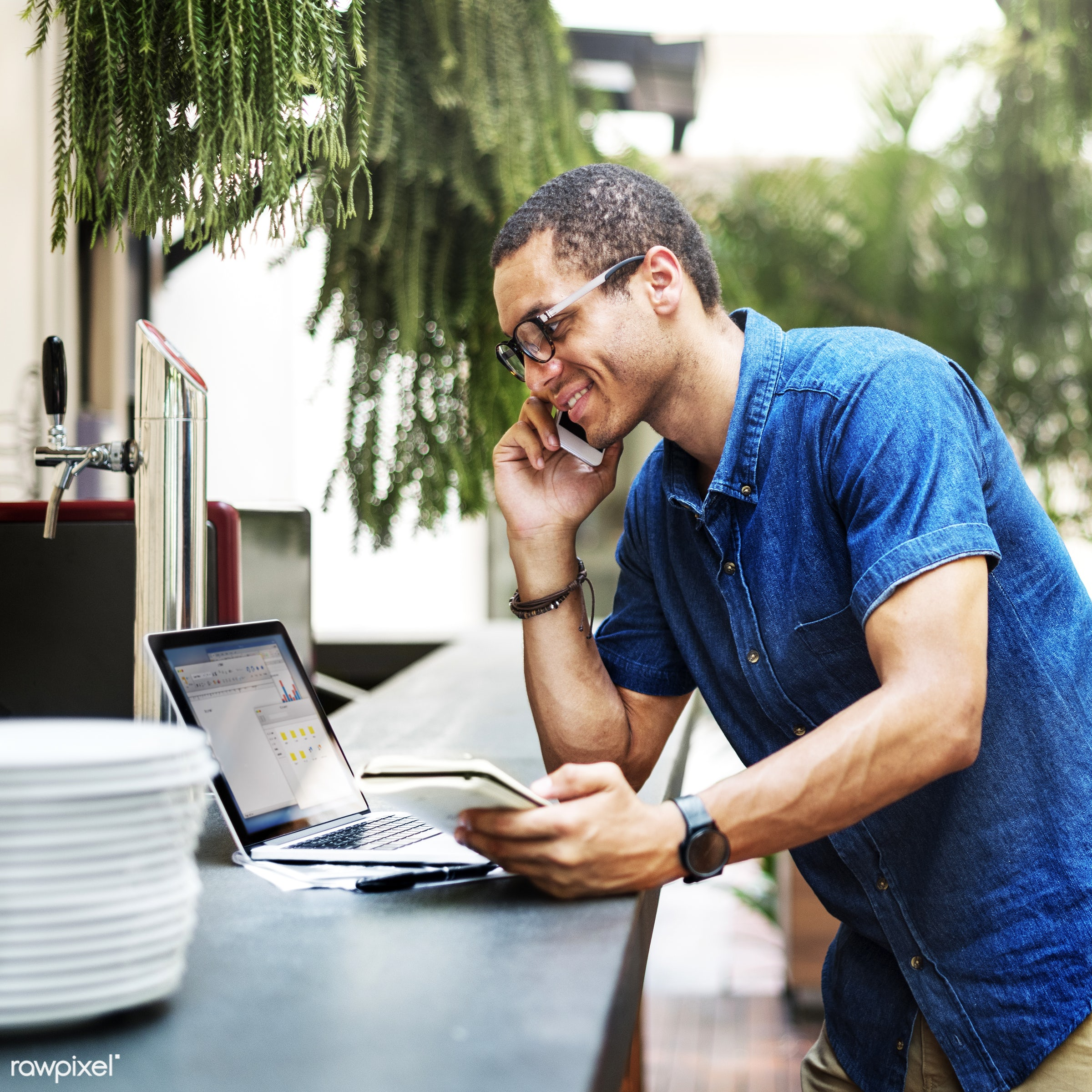 african, african descent, black, book, browsing, business, businessman, cafe, casual, cheerful, coffee shop, communication,...