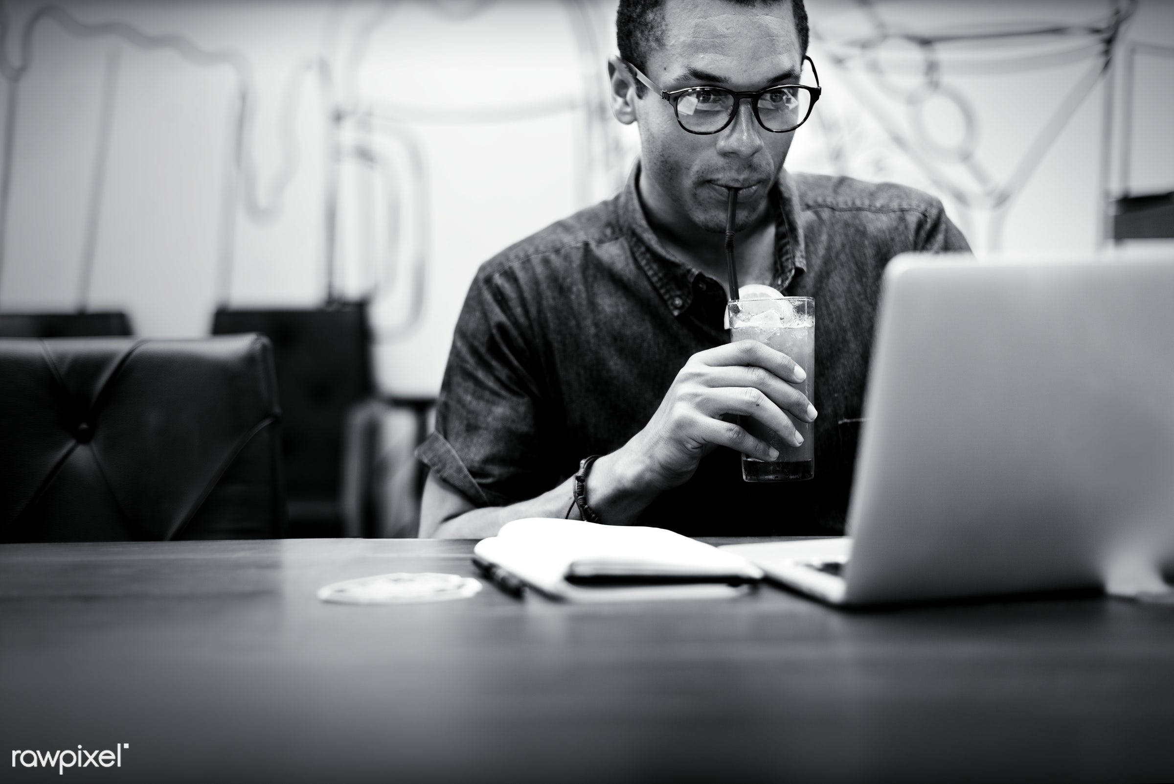 african, analyzing, black, black and white, break, browsing, business, businessman, cafe, casual, communication, computer,...