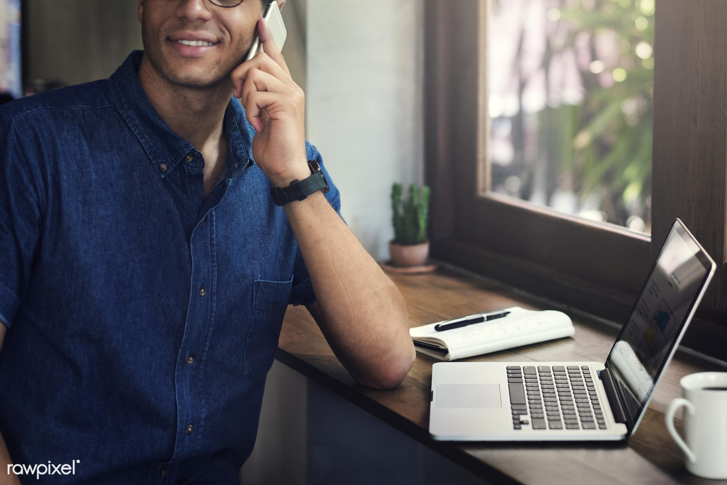 business, office, digital, businessman, laptop, start up, coffee shop, plan, telecommunication, networking, research,...