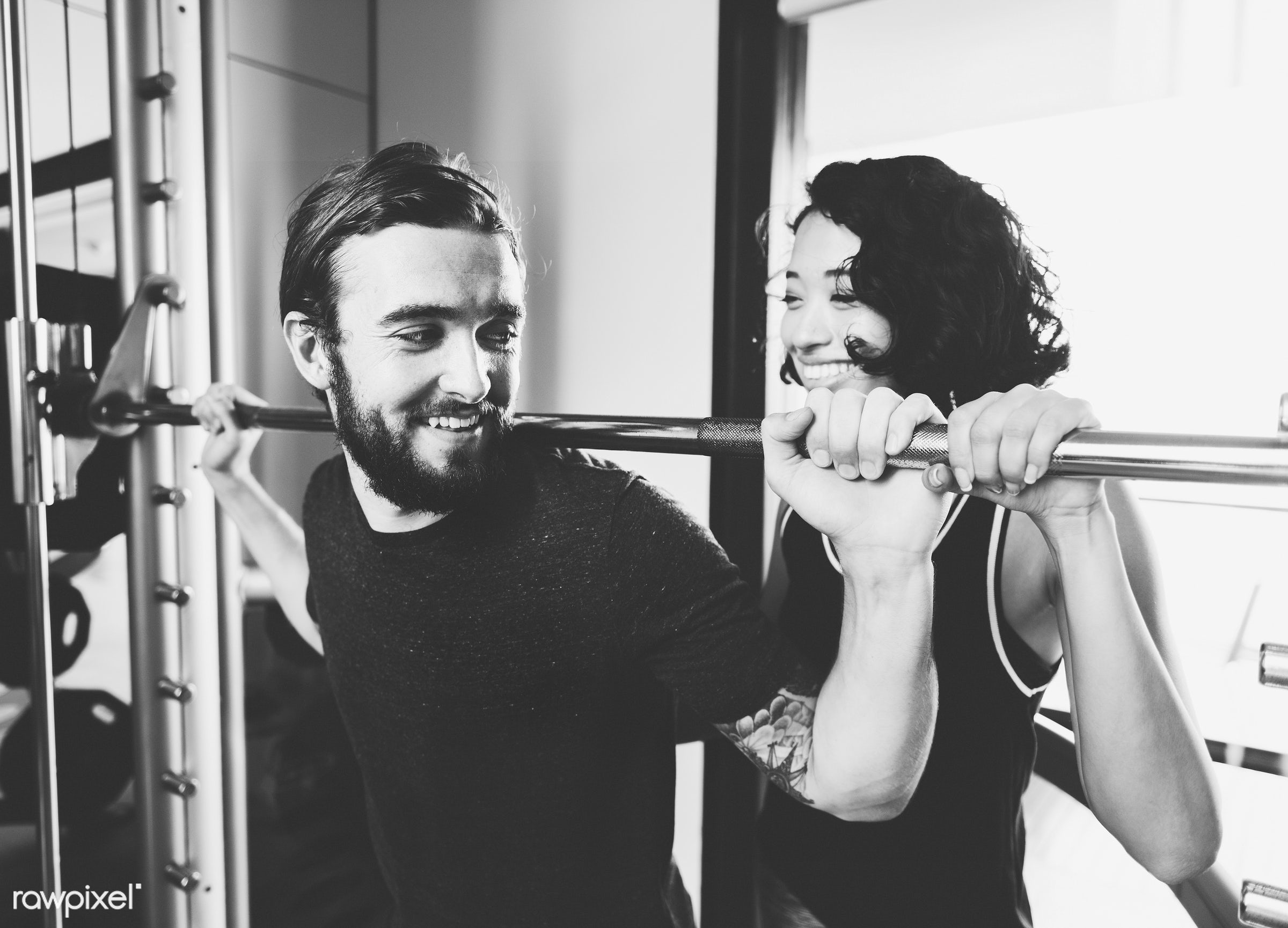 instructor, wellbeingwellness, pushing, exercise, barbell, together, working out, trainer, training, couple, gym, cheerful,...