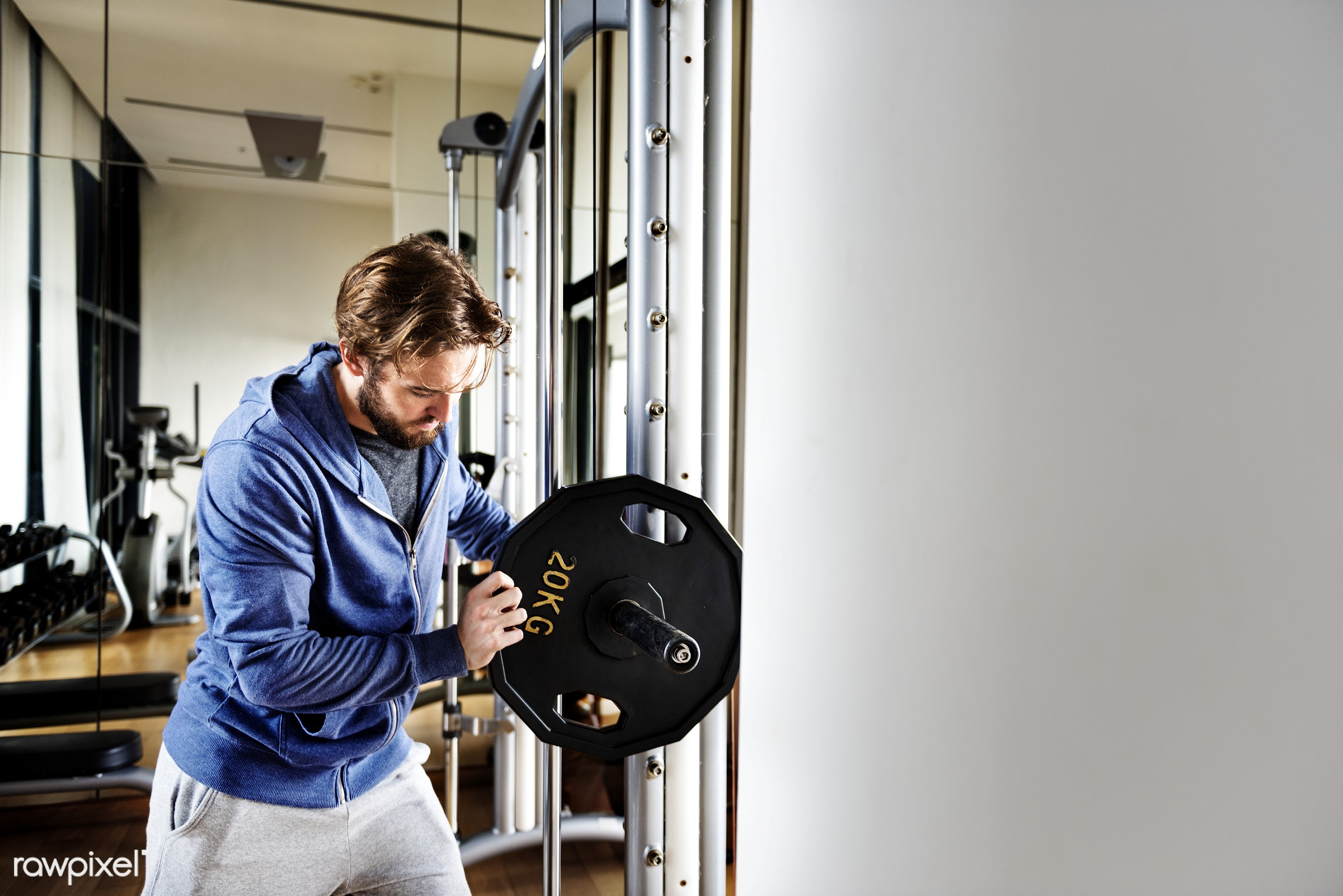 A man lifting weights in the gym - gym, active, adult, athlete, athletic, attractive, barbell, body, bodybuilding, building...